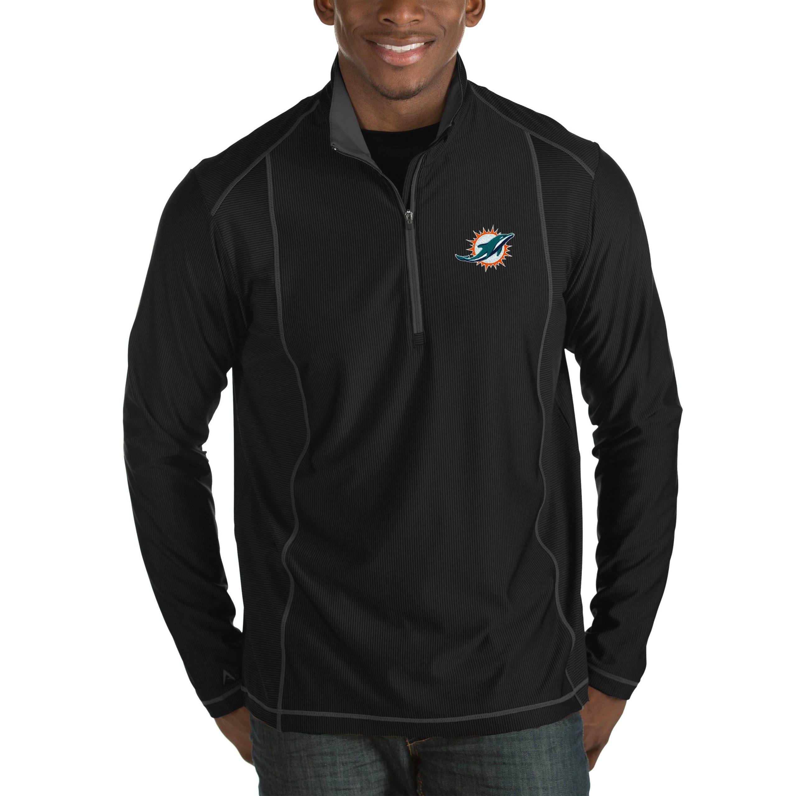 Miami Dolphins Antigua Tempo Big & Tall Half-Zip Pullover Jacket - Heather Black