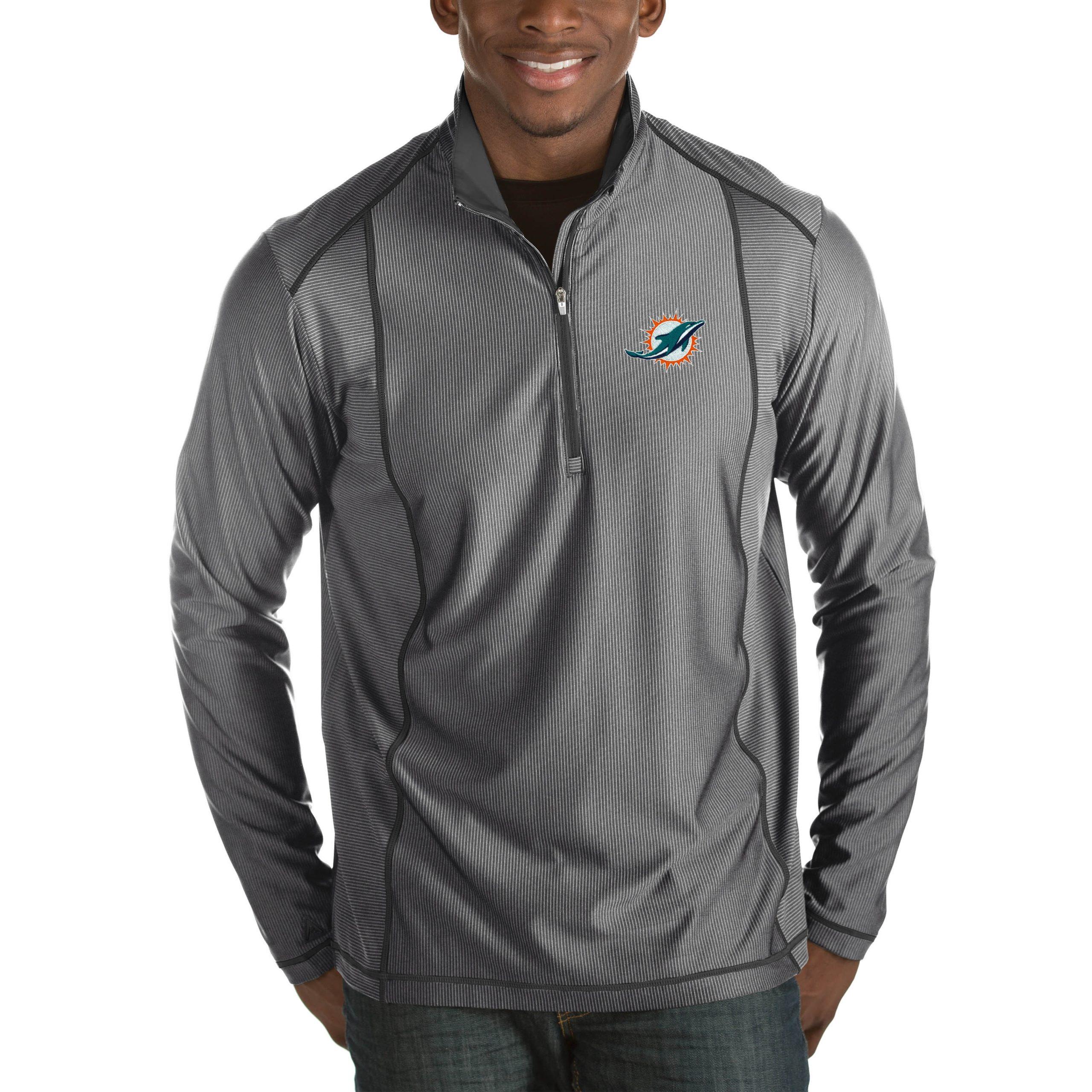 Miami Dolphins Antigua Tempo Big & Tall Half-Zip Pullover Jacket - Heather Charcoal
