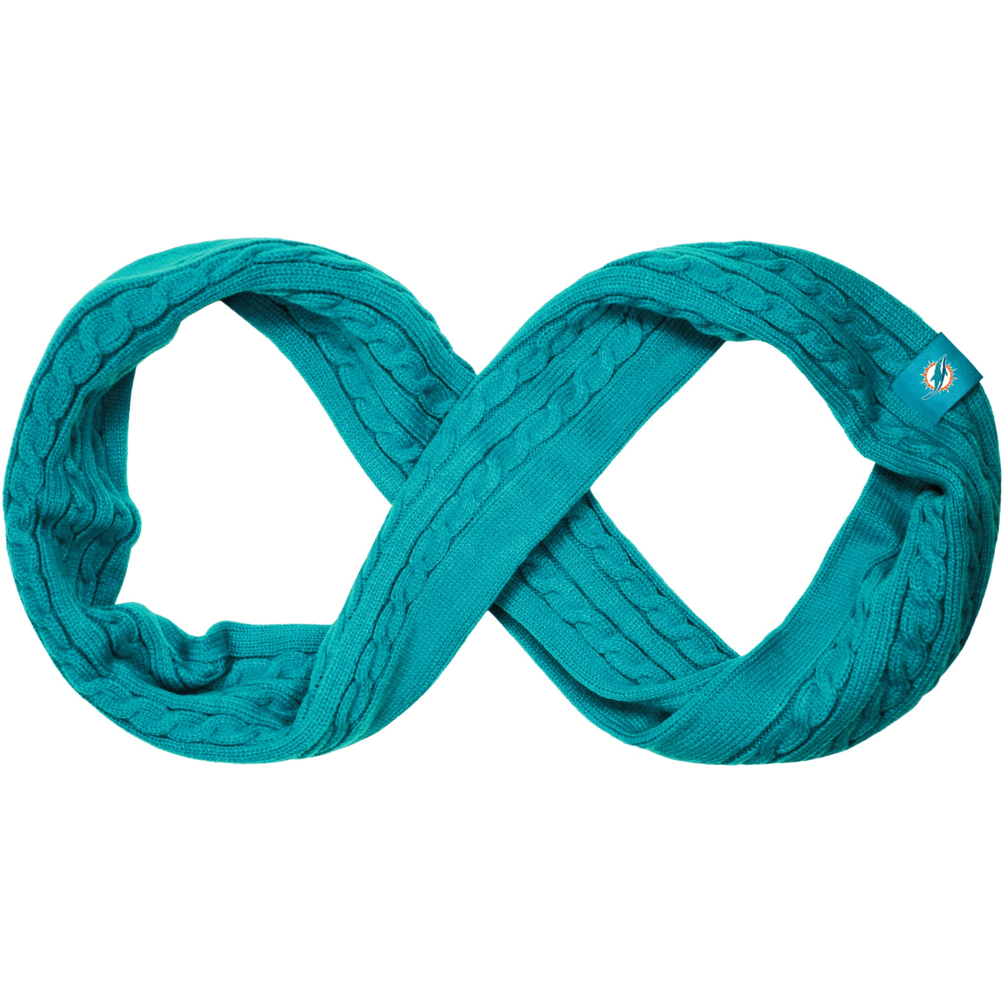 Miami Dolphins Women's Cable Knit Infinity Scarf - Teal