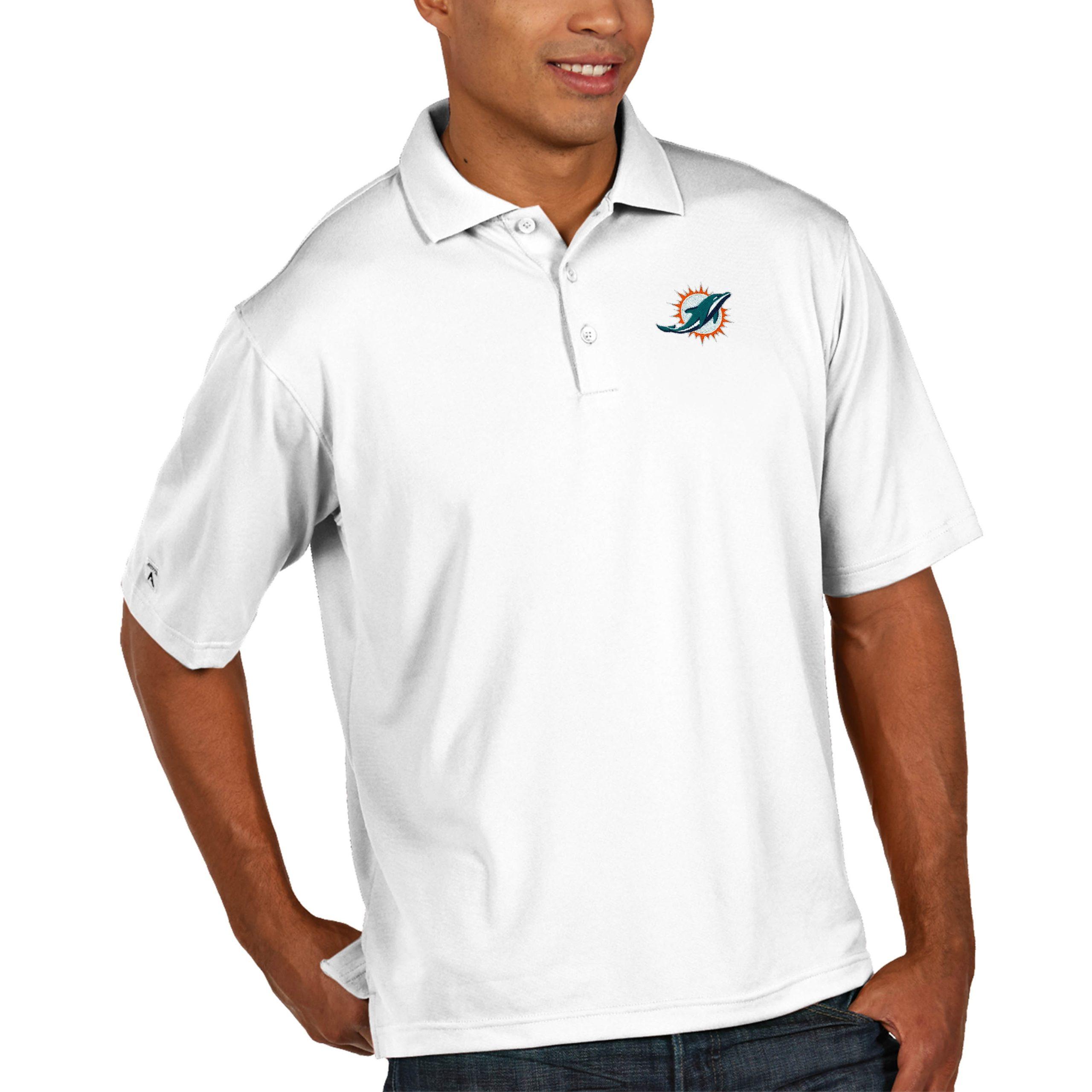 Miami Dolphins Antigua Pique Xtra Lite Big & Tall Polo - White