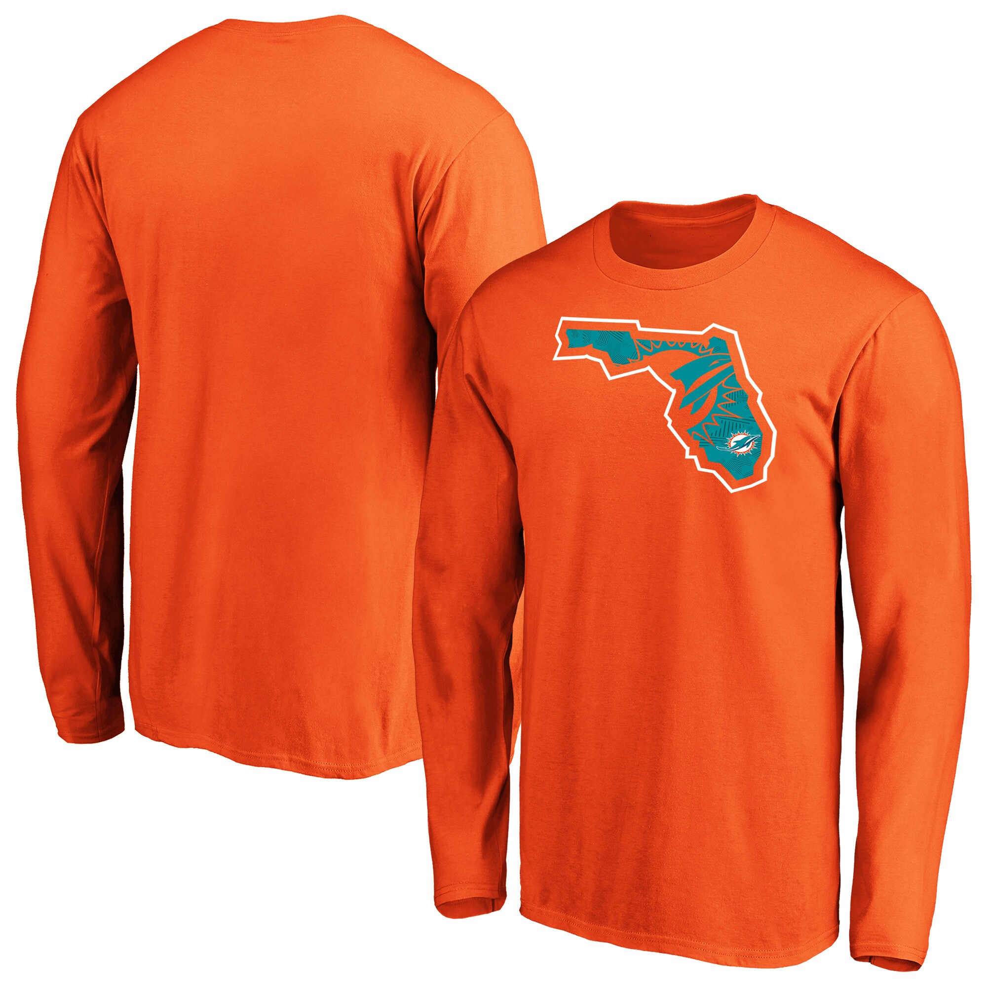 Miami Dolphins NFL Pro Line by Fanatics Branded Iconic State Pride Long Sleeve T-Shirt - Orange