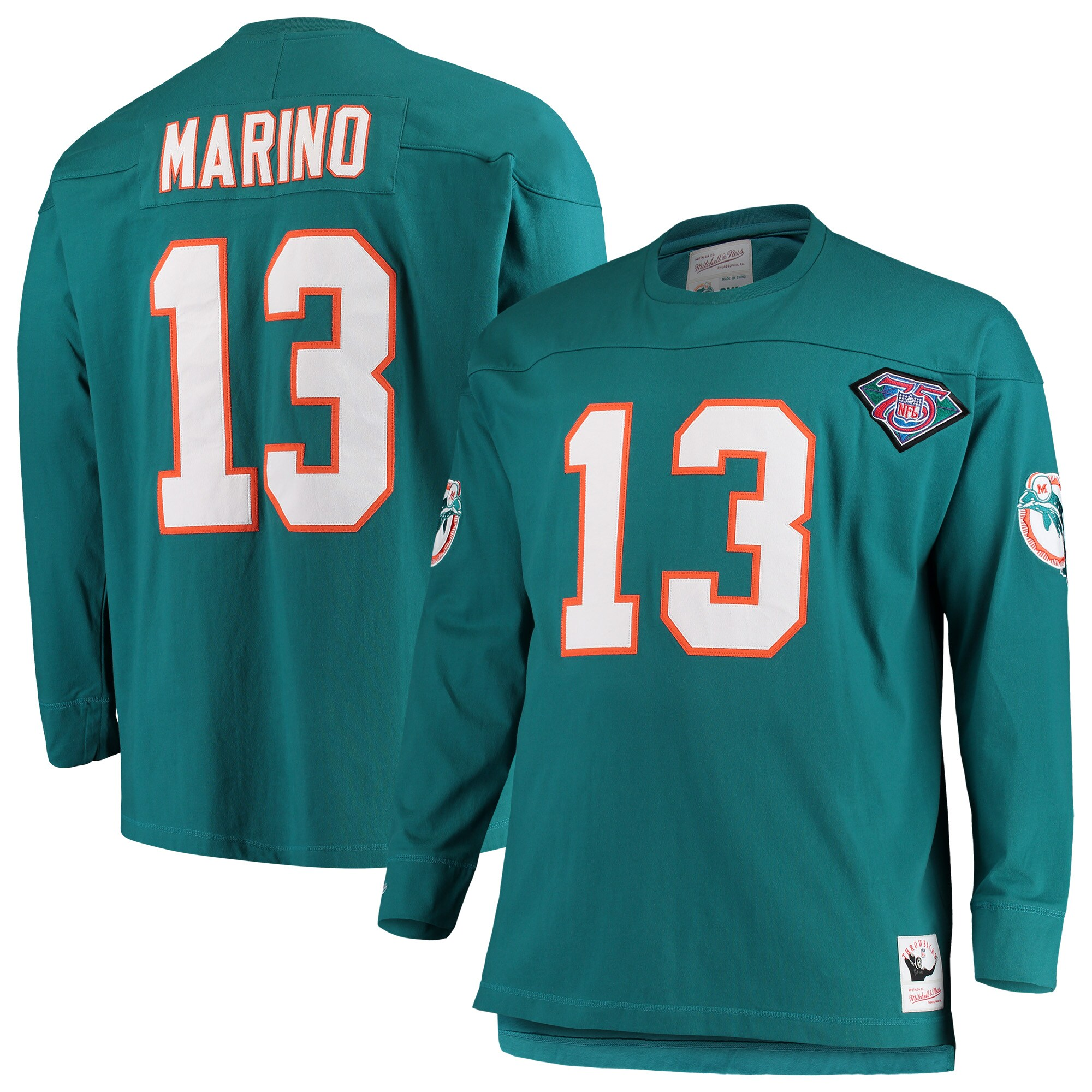 Dan Marino Miami Dolphins Mitchell & Ness Big & Tall Retired Player Name & Number Long Sleeve Top - Aqua