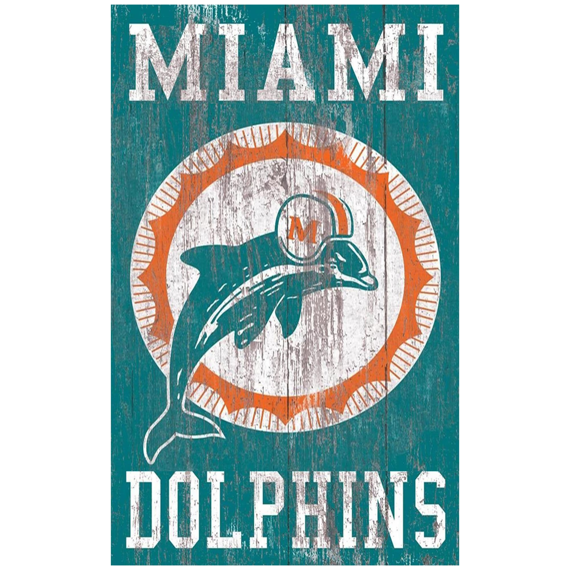 Miami Dolphins 11'' x 19'' Heritage Distressed Logo Sign