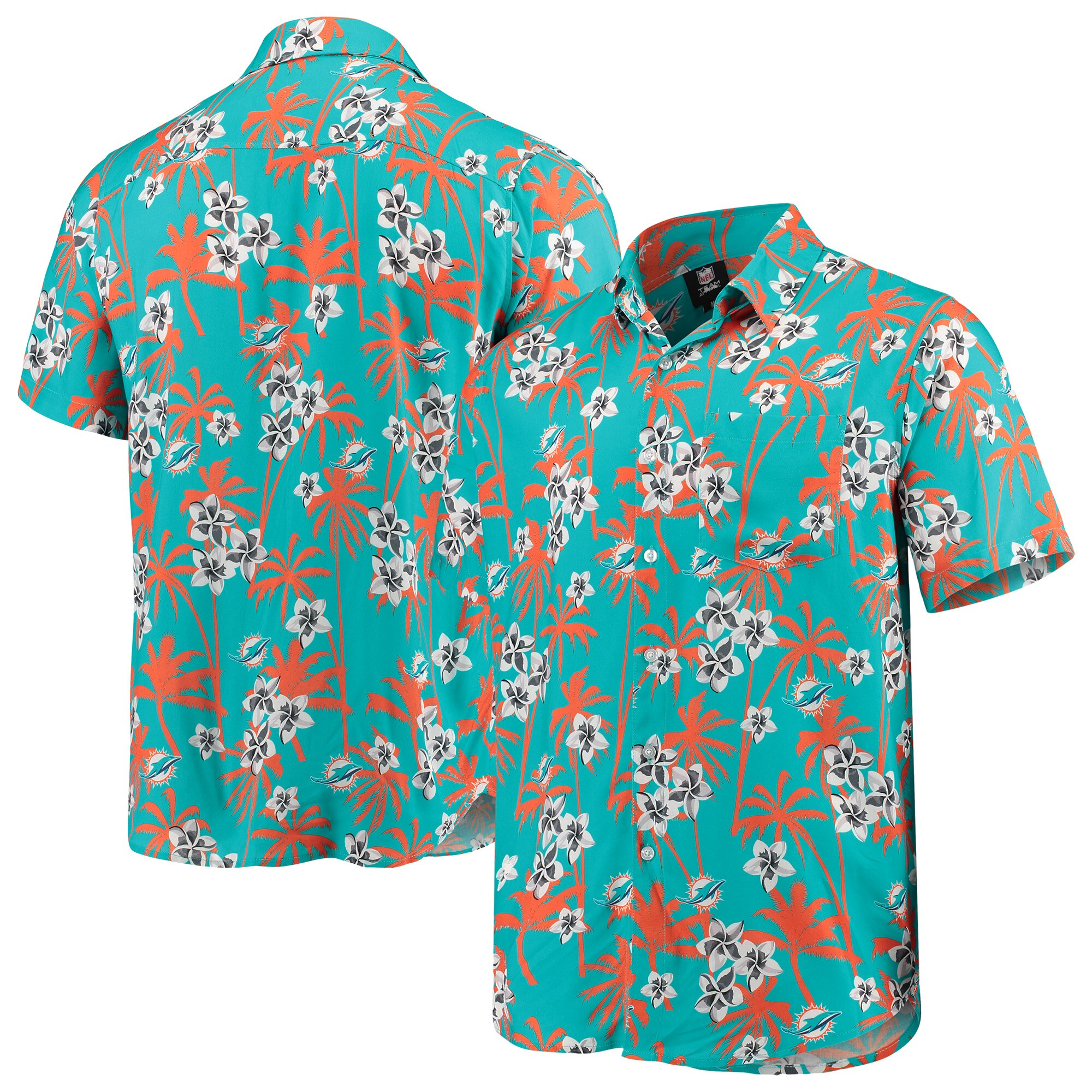 Miami Dolphins Floral Woven Button-Up Shirt - Aqua