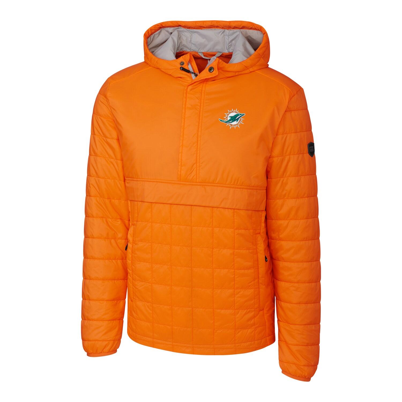 Miami Dolphins Cutter & Buck Rainier Hooded Half-Zip Pullover Jacket - Orange