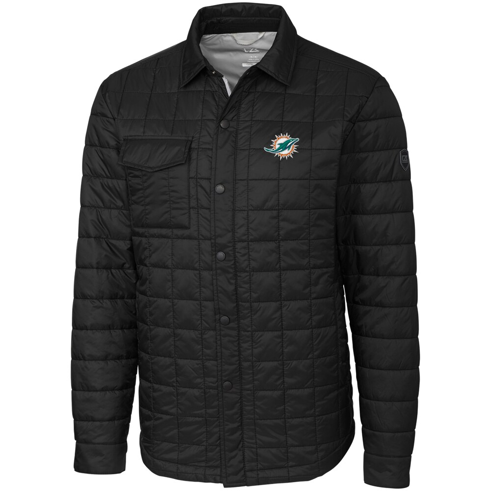 Miami Dolphins Cutter & Buck Big & Tall Rainier Shirt Jacket - Black