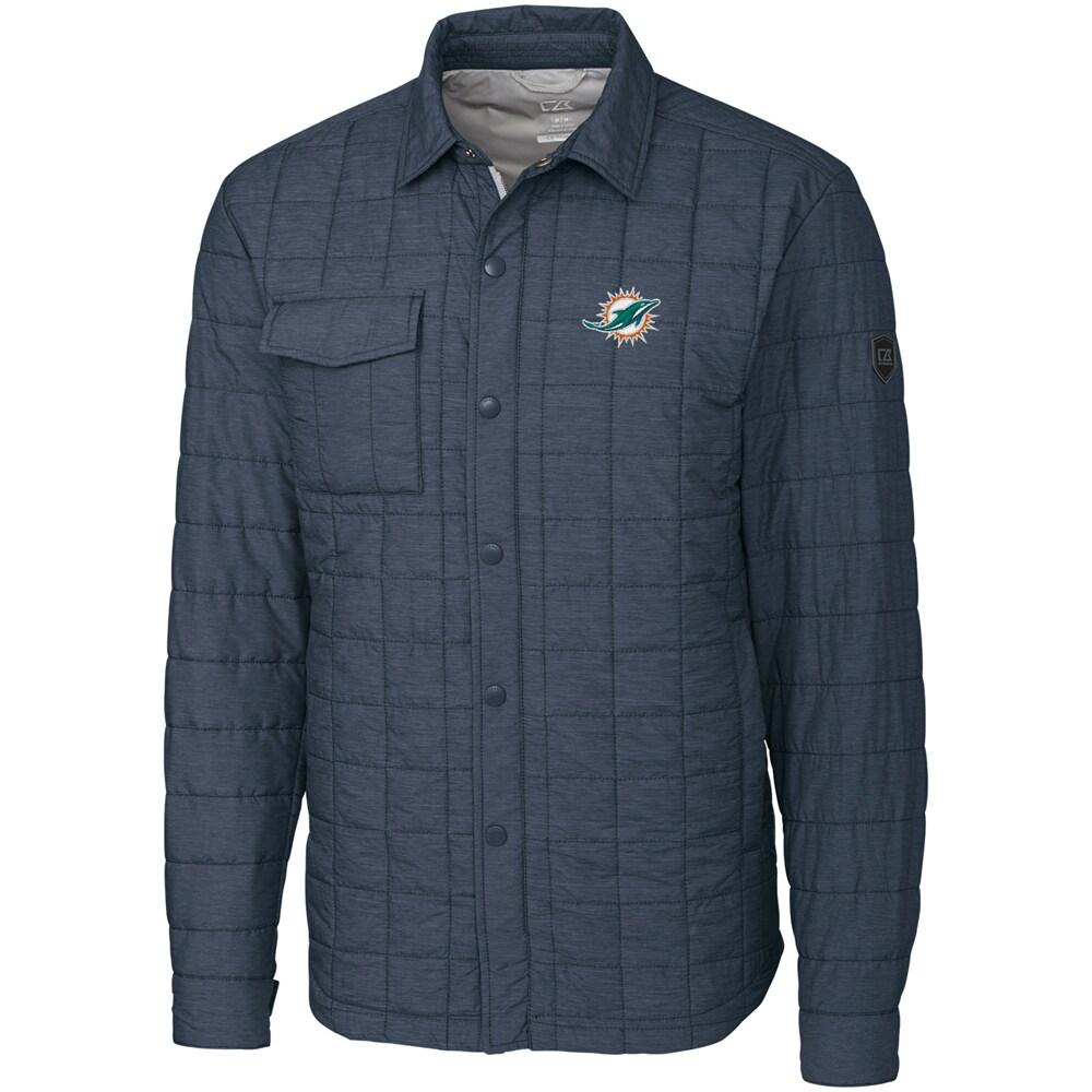 Miami Dolphins Cutter & Buck Rainier Shirt Jacket - Charcoal