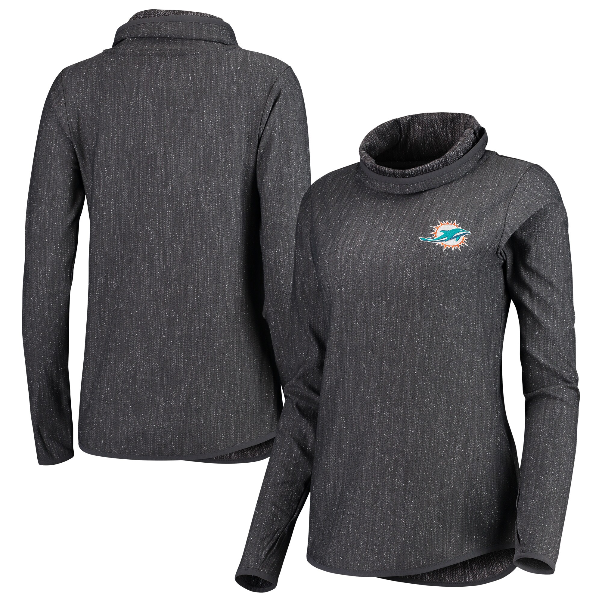 Miami Dolphins Antigua Women's Equalizer Cowl Neck Pullover Sweatshirt - Heathered Charcoal