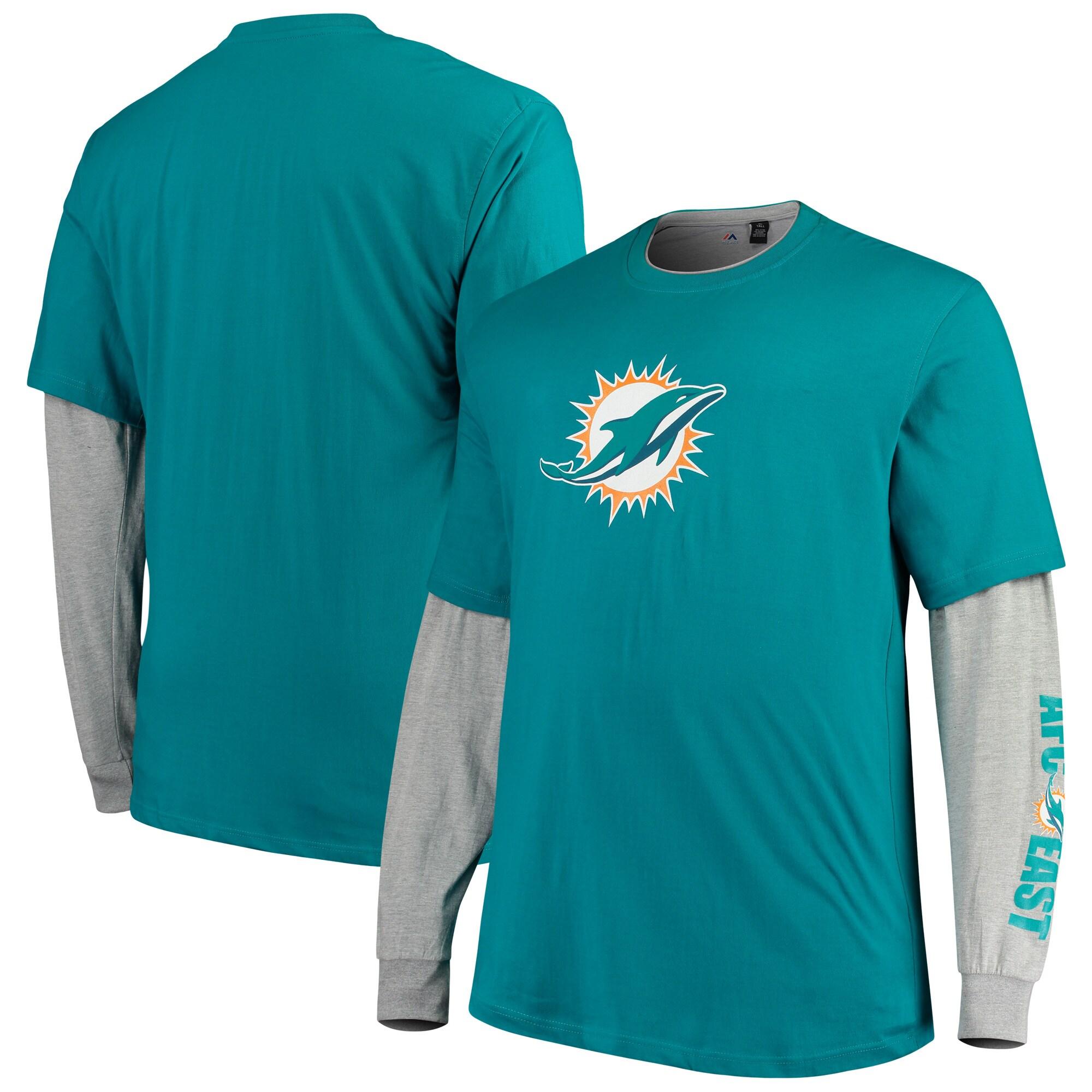 Miami Dolphins Majestic Big & Tall T-Shirt Combo Set - Aqua/Heathered Gray