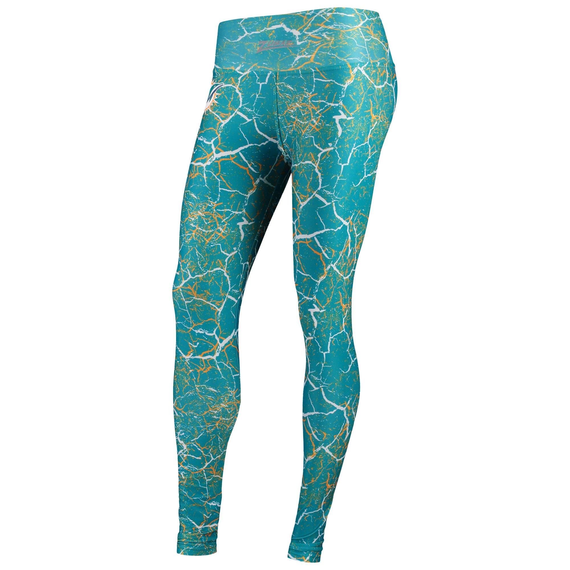 Miami Dolphins Zubaz Women's Marble Leggings - Aqua/Orange