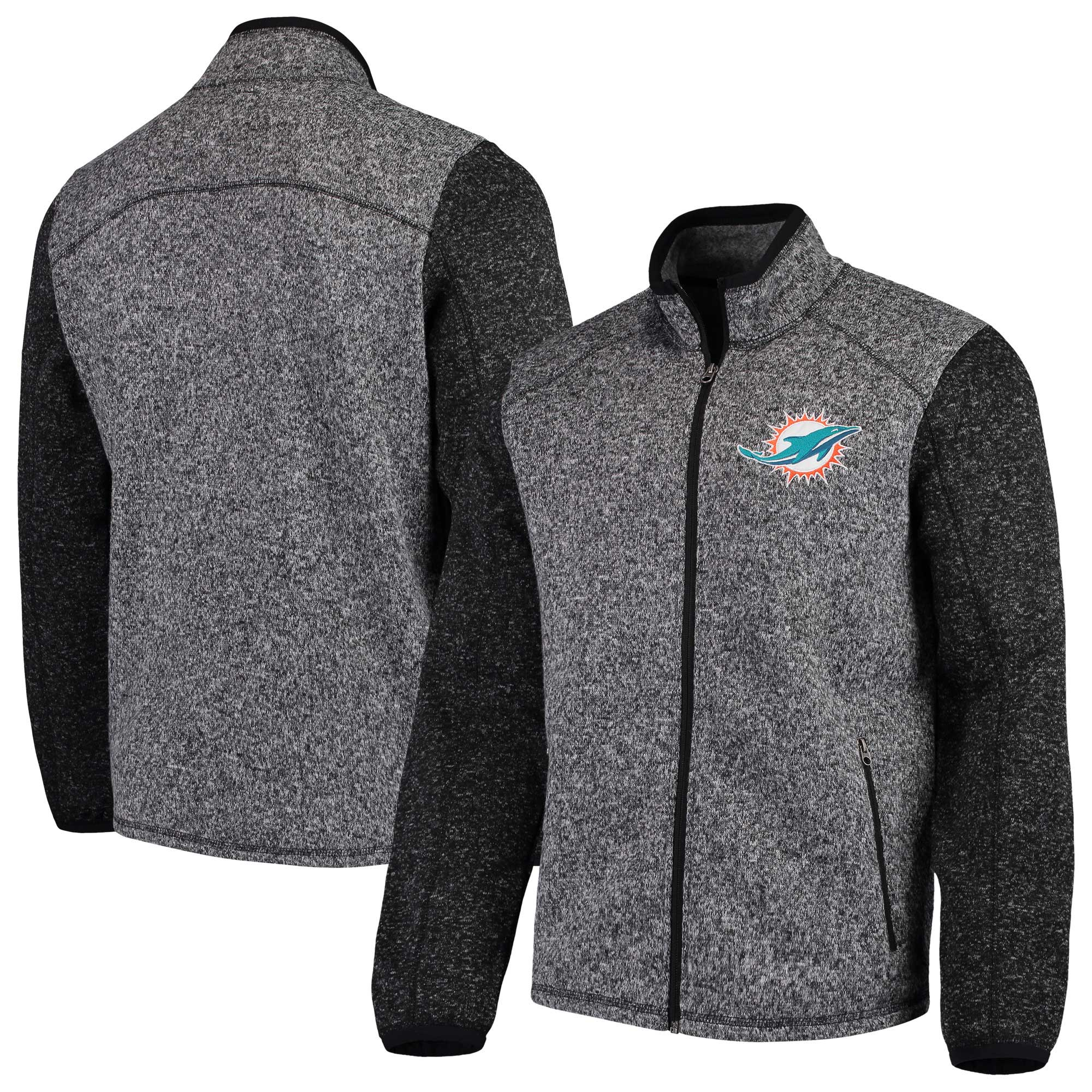 Miami Dolphins G-III Sports by Carl Banks Alpine Zone Sweater Fleece Full-Zip Jacket - Heathered Charcoal
