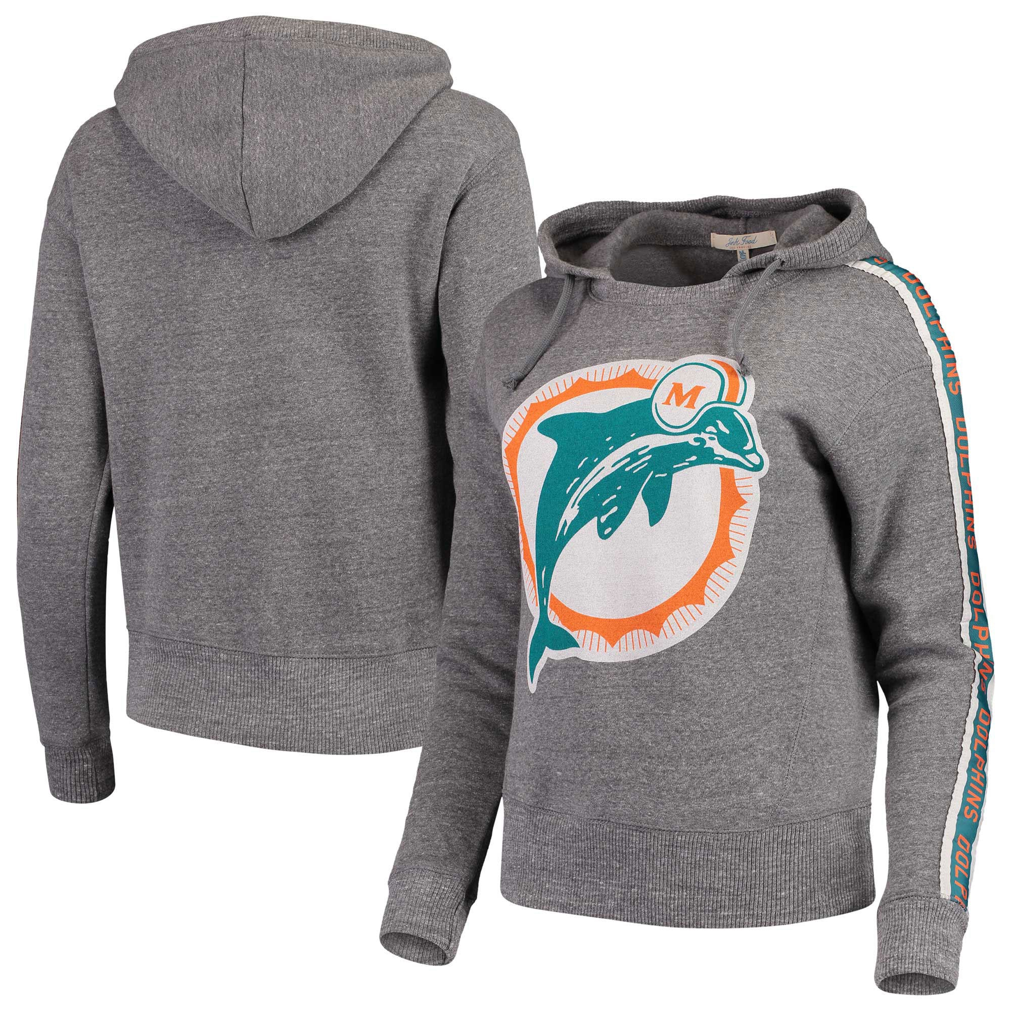 Miami Dolphins Junk Food Women's Sunday Liberty Pullover Hoodie - Heathered Gray