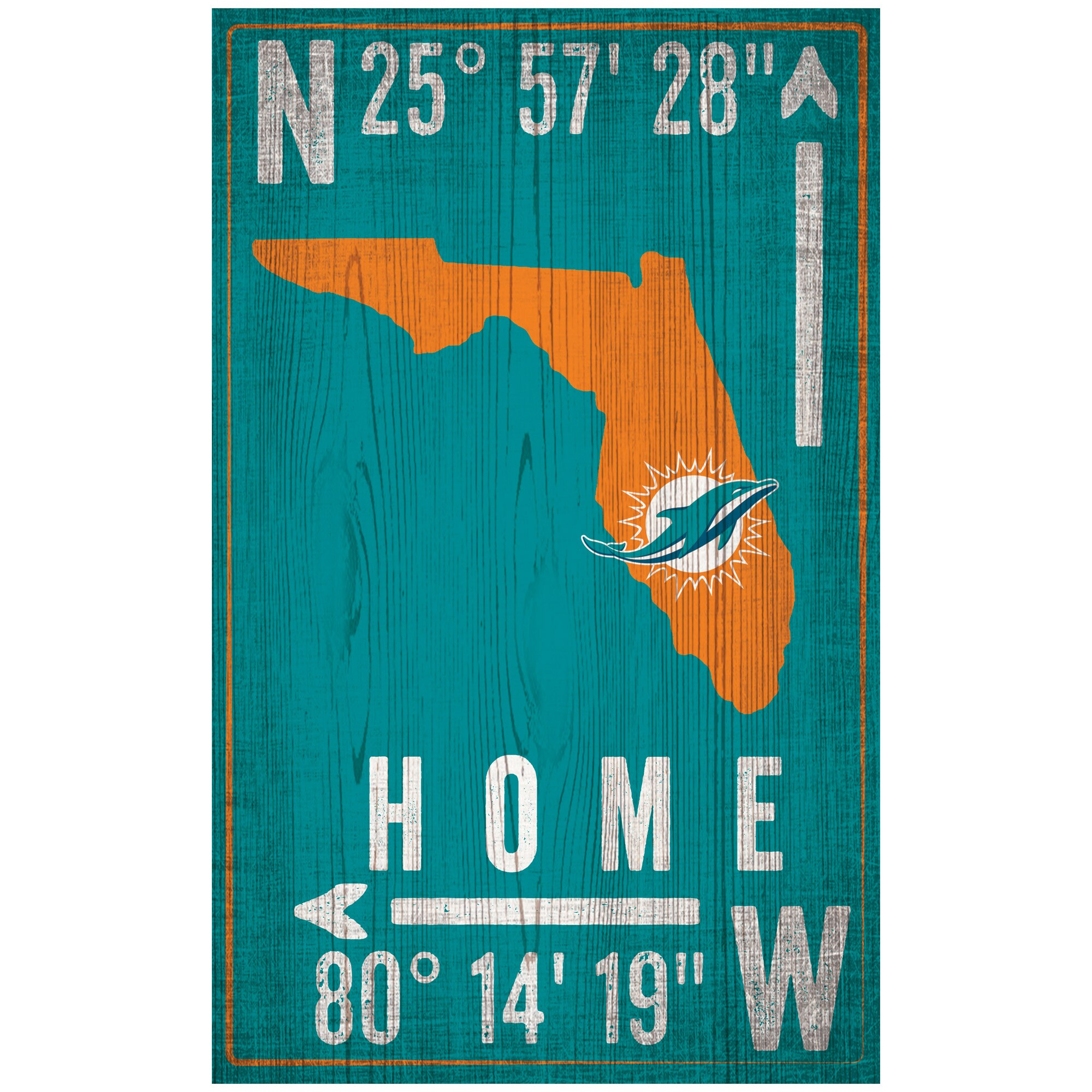 "Miami Dolphins 11"" x 19"" Coordinate Sign"