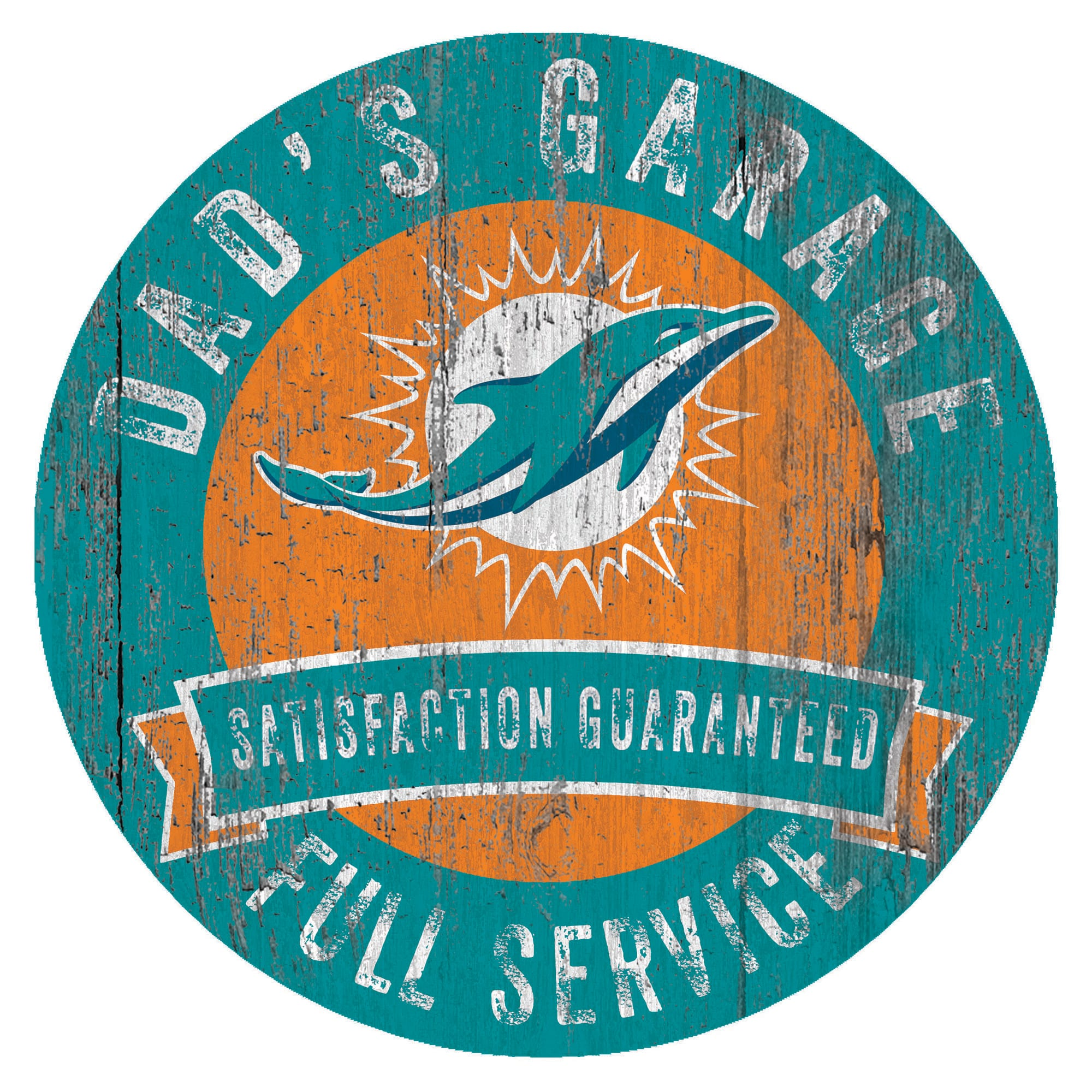 "Miami Dolphins 12"" x 12"" Dad's Garage Sign"