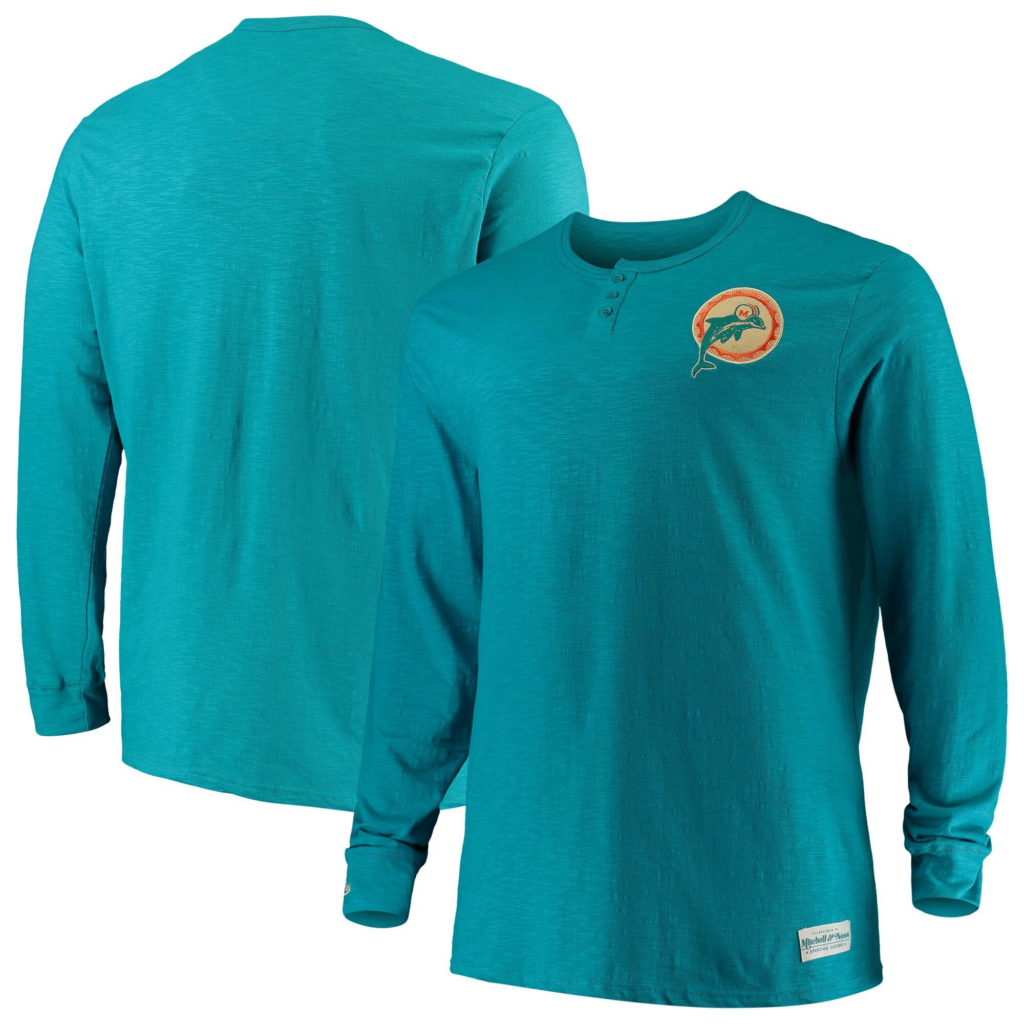 Miami Dolphins Mitchell & Ness Big & Tall First Round Pick Long Sleeve Henley T-Shirt - Aqua