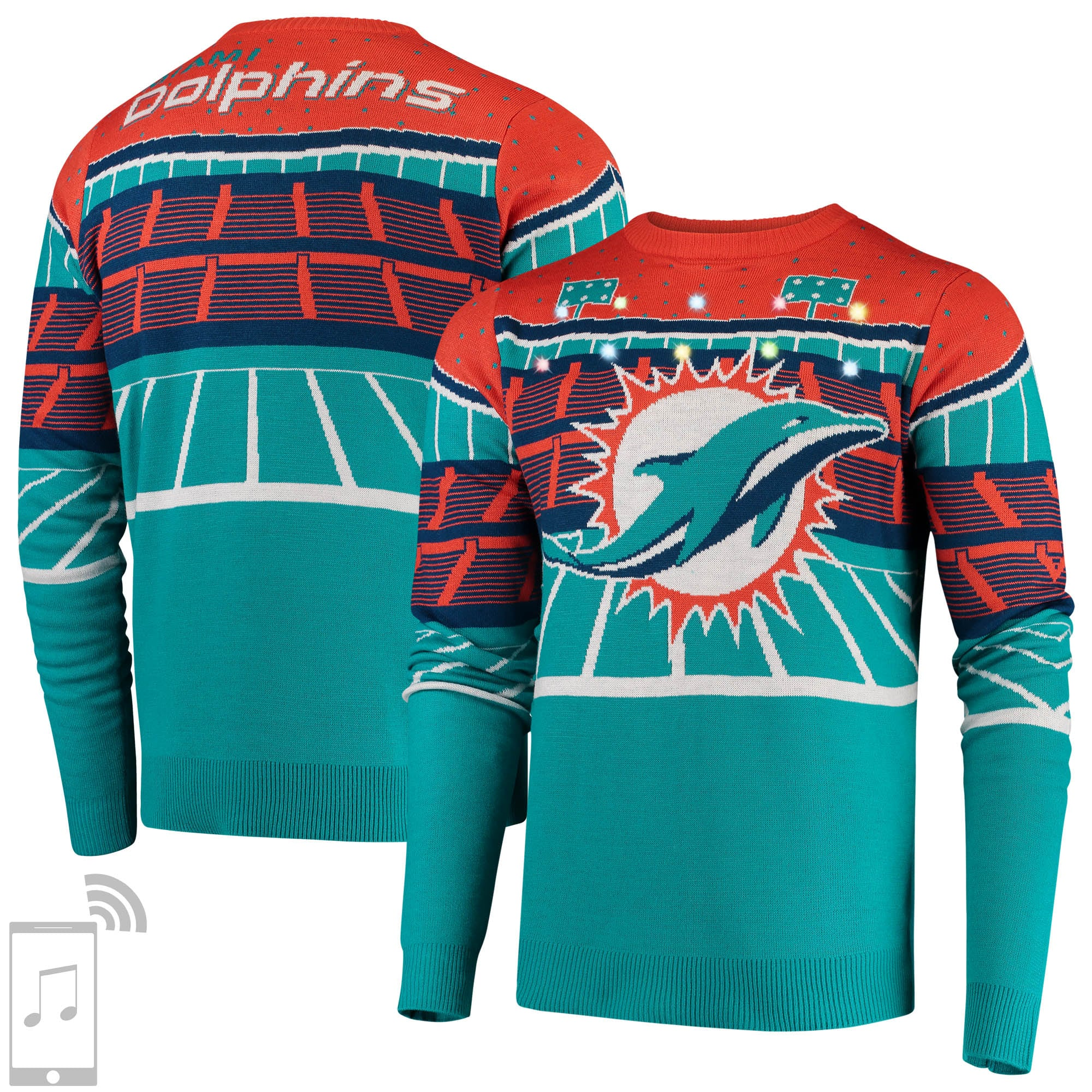 Miami Dolphins Bluetooth Light Up Ugly Sweater - Aqua