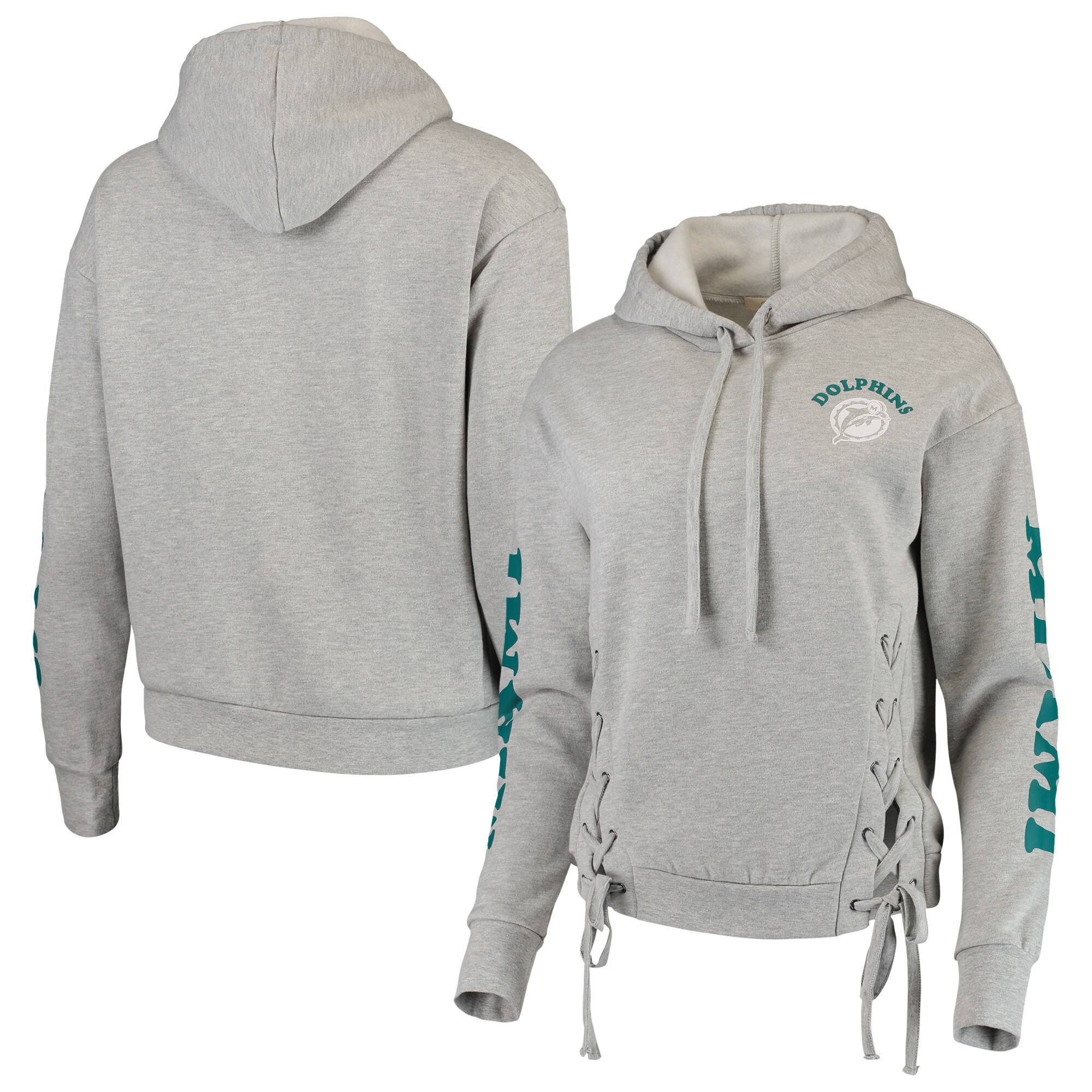 Miami Dolphins Junk Food Women's Fashion Fleece Pullover Hoodie - Heathered Gray