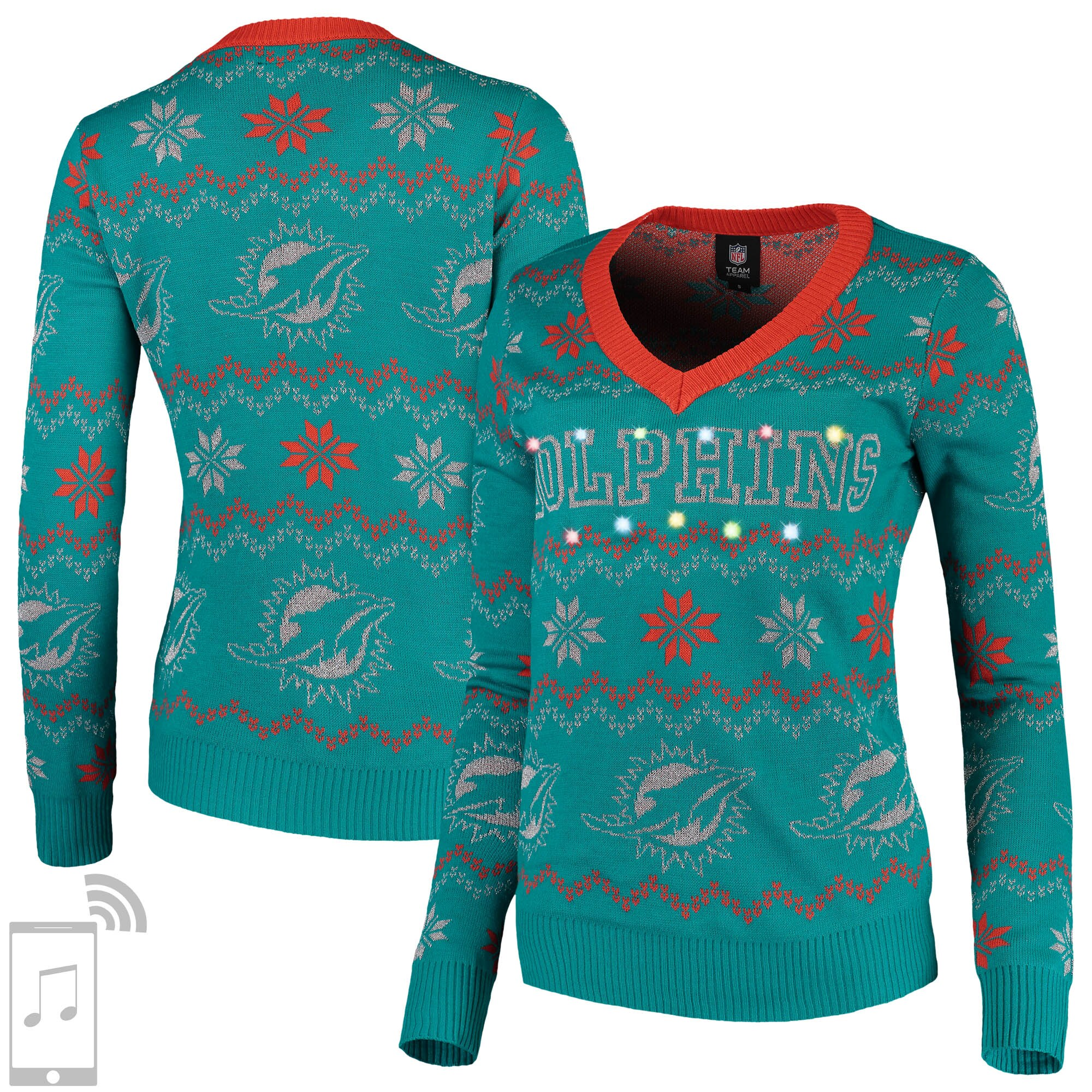 Miami Dolphins Women's V-Neck Bluetooth Light Up Tri-Blend Ugly Sweater - Aqua
