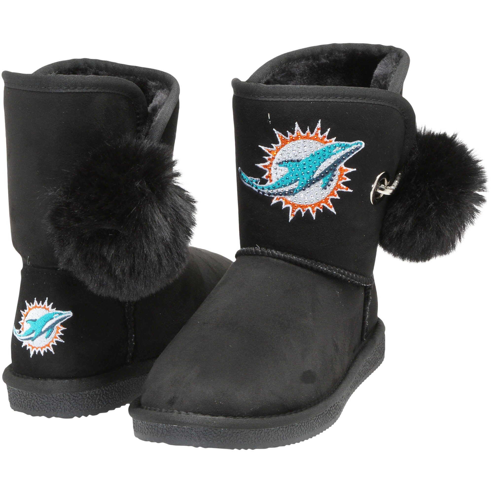 Miami Dolphins Cuce Women's The Fumble Faux Fur Boots - Black