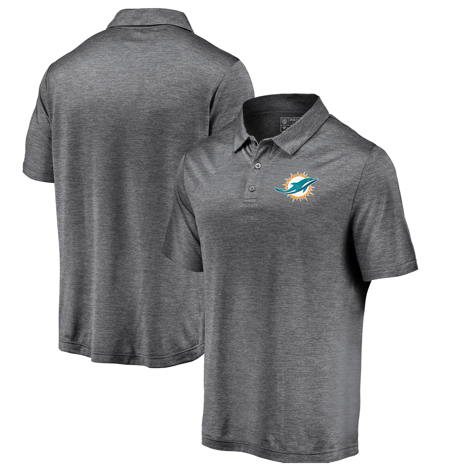 Miami Dolphins Majestic Iconic Positive Production Polo - Heathered Charcoal