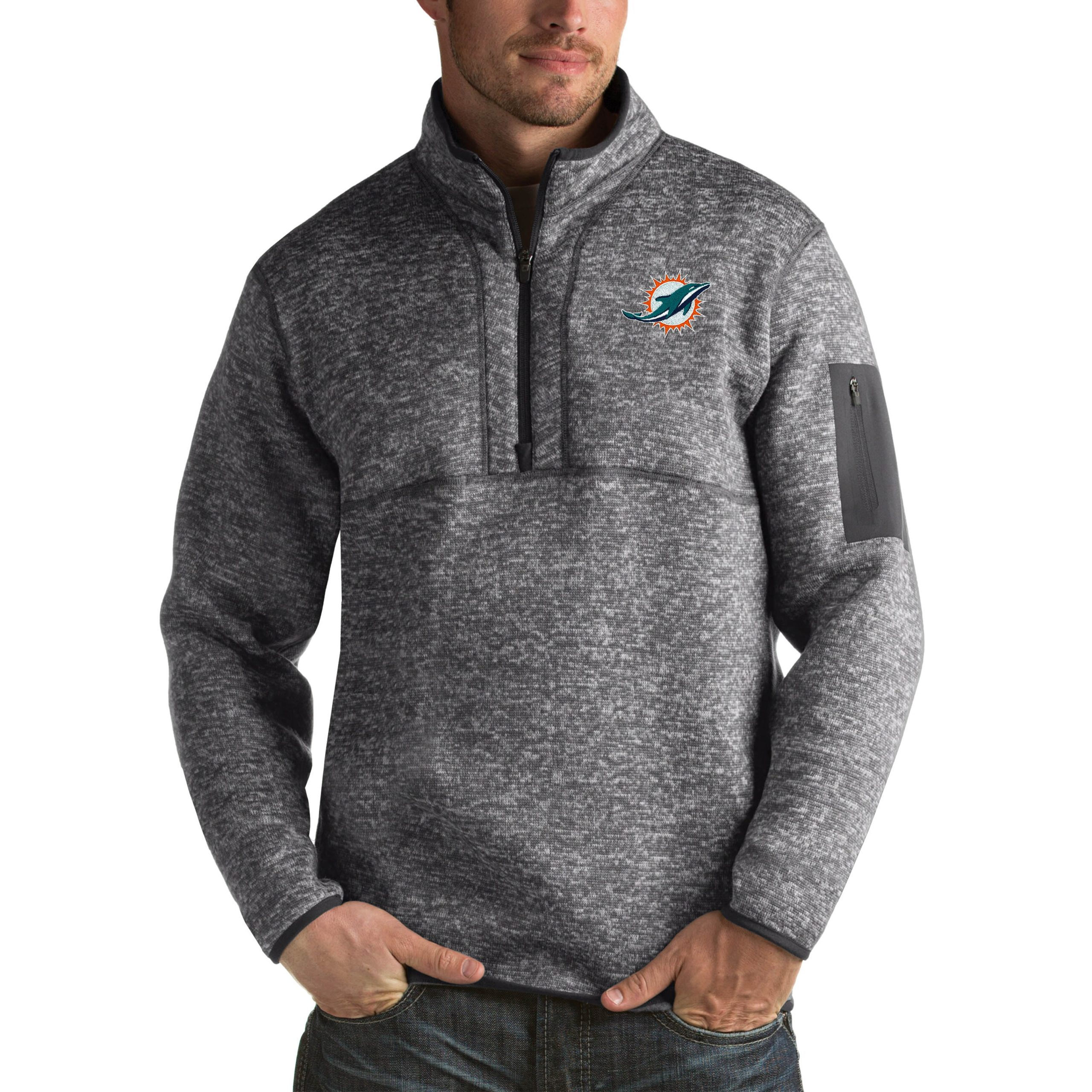 Miami Dolphins Antigua Fortune Big & Tall Quarter-Zip Pullover Jacket - Charcoal