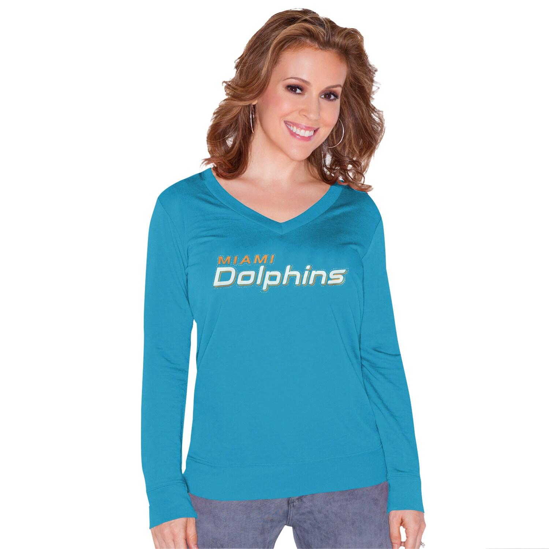 Miami Dolphins Touch by Alyssa Milano Women's Lana V-Neck Pullover Sweatshirt - Aqua