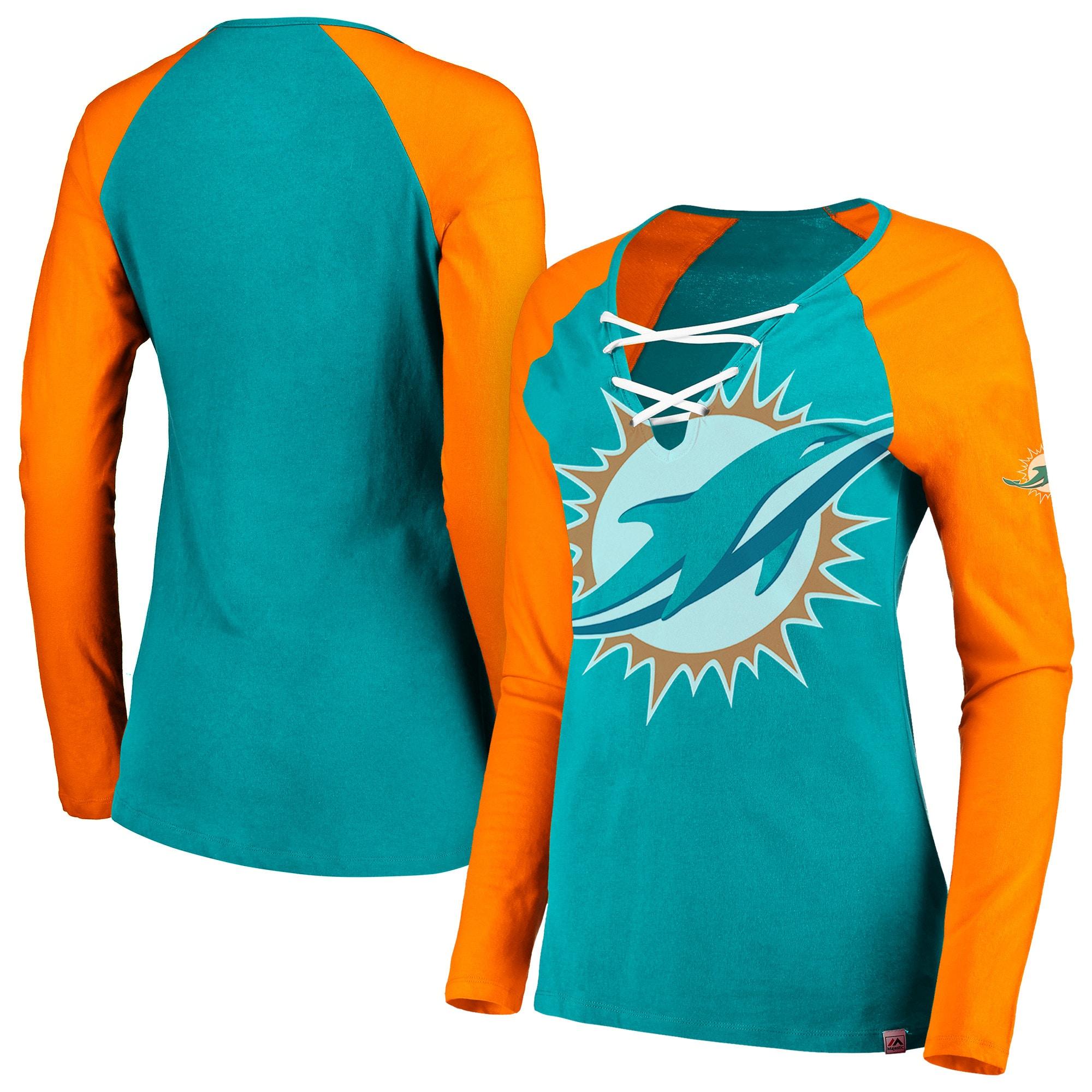 Miami Dolphins Majestic Women's Long Sleeve Lace-Up V-Neck T-Shirt - Aqua/Orange