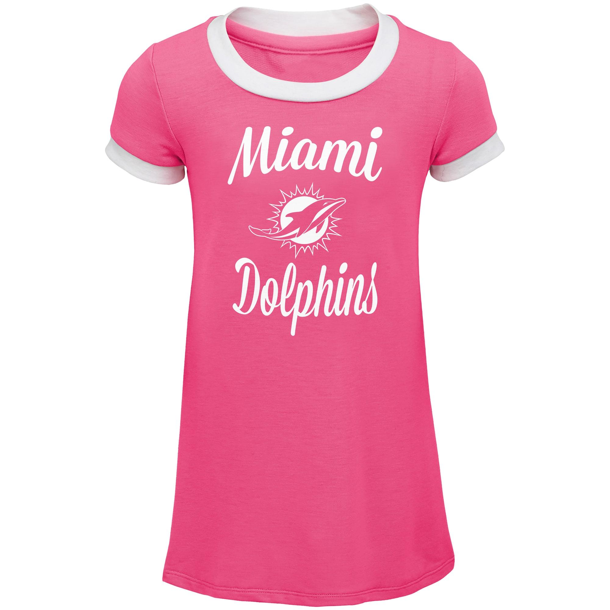 Miami Dolphins Girls Toddler Yardline Ringer Dress - Pink