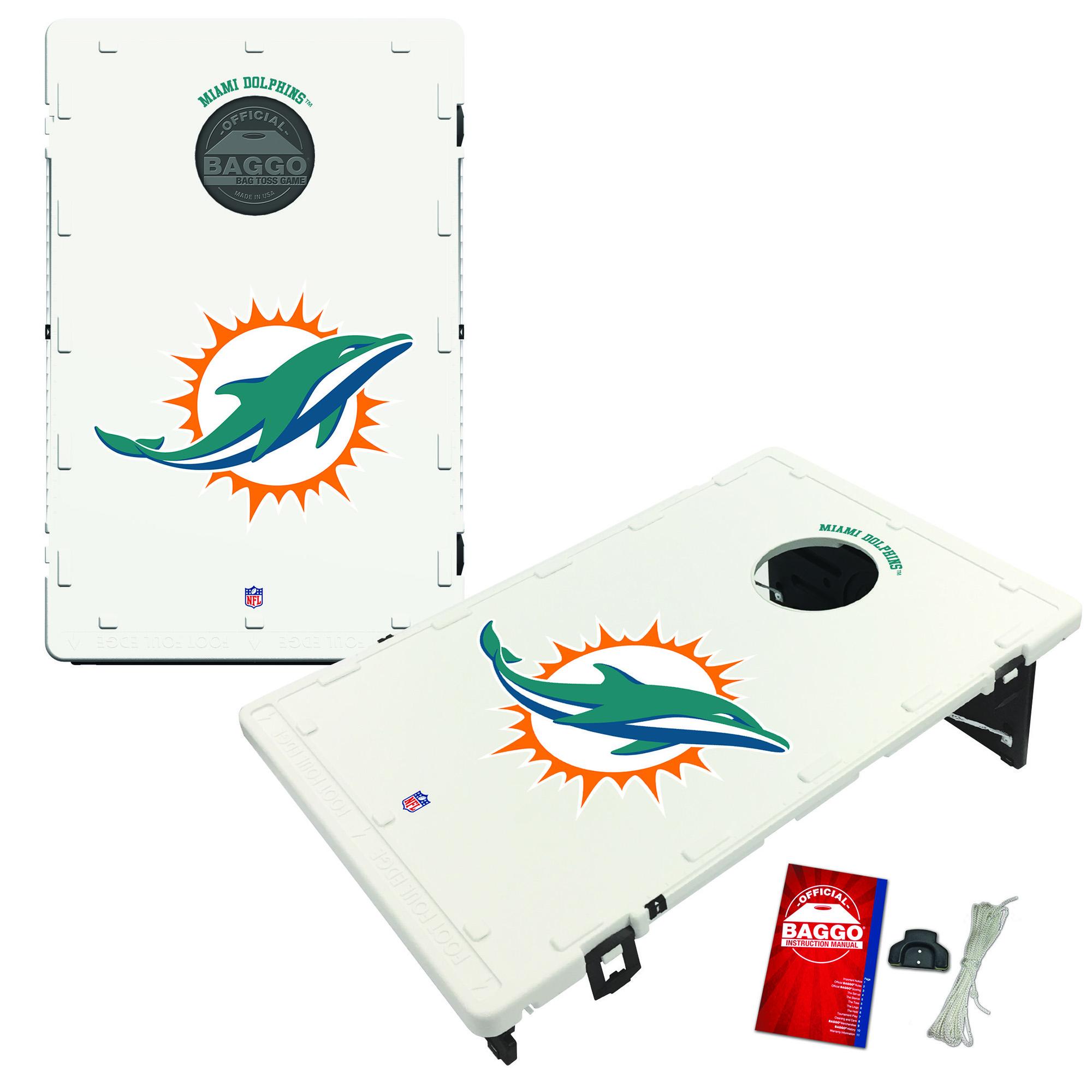 Miami Dolphins 2' x 3' Classic Design BAGGO Cornhole Board Tailgate Toss Set