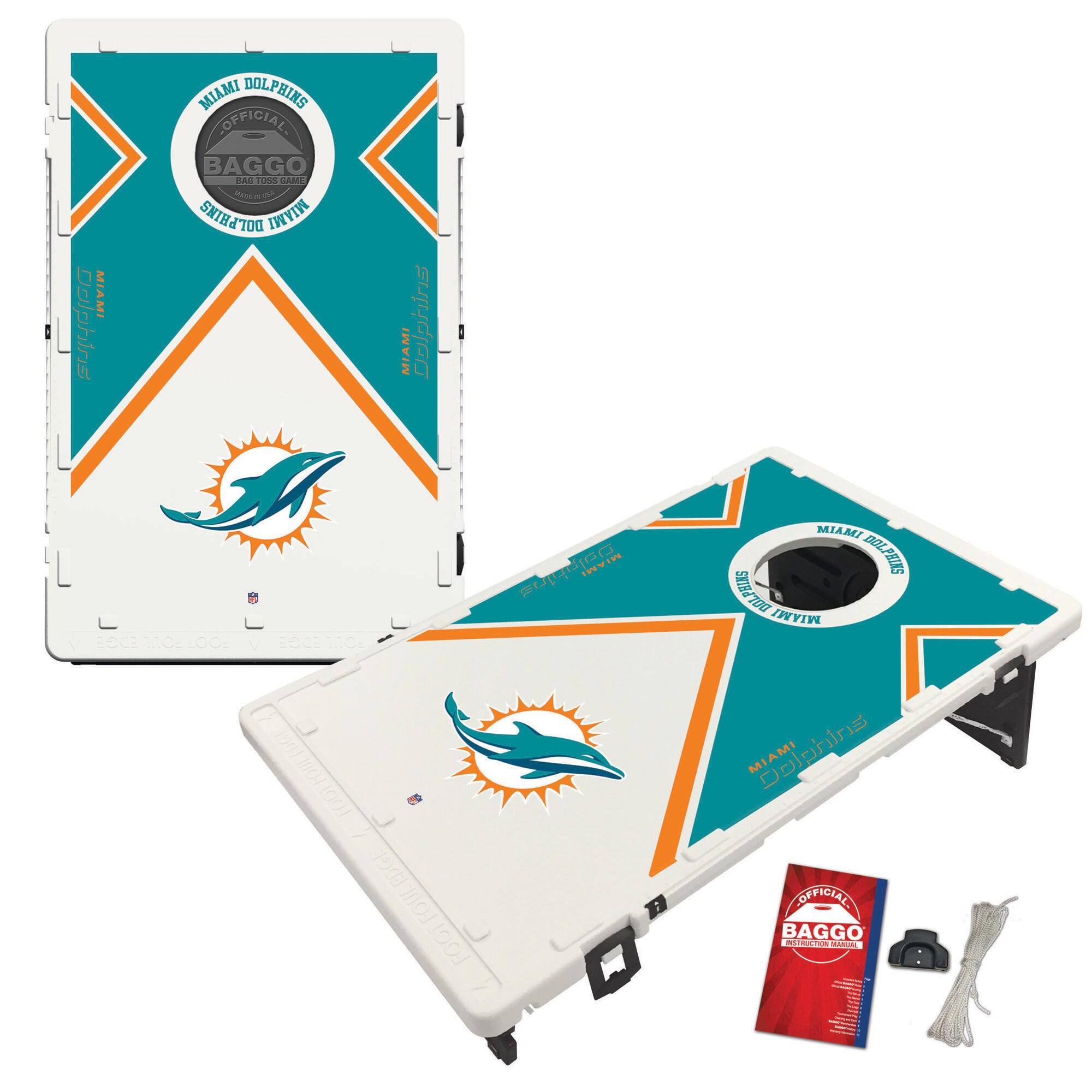 Miami Dolphins 2' x 3' BAGGO Vintage Cornhole Board Tailgate Toss Set