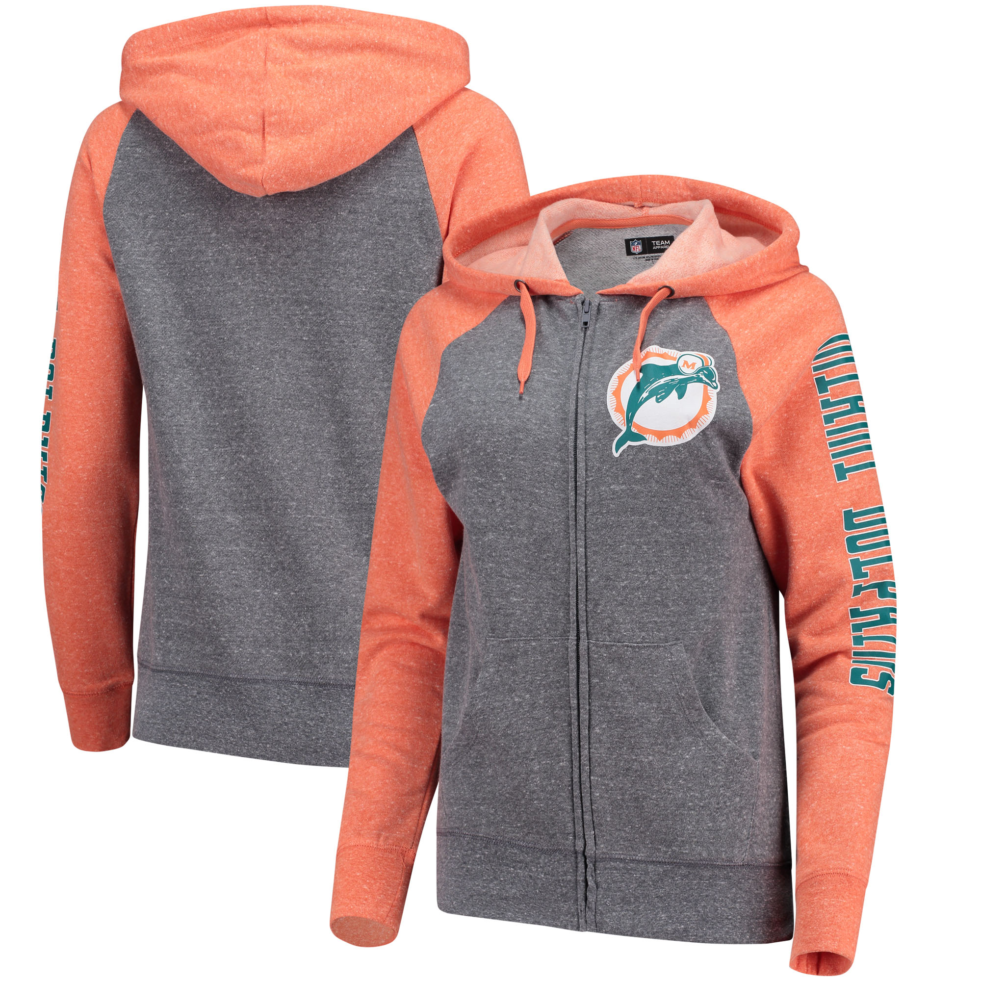 Miami Dolphins 5th & Ocean by New Era Women's Fleece Tri-Blend Raglan Sleeve Full-Zip Hoodie - Heathered Gray/Orange