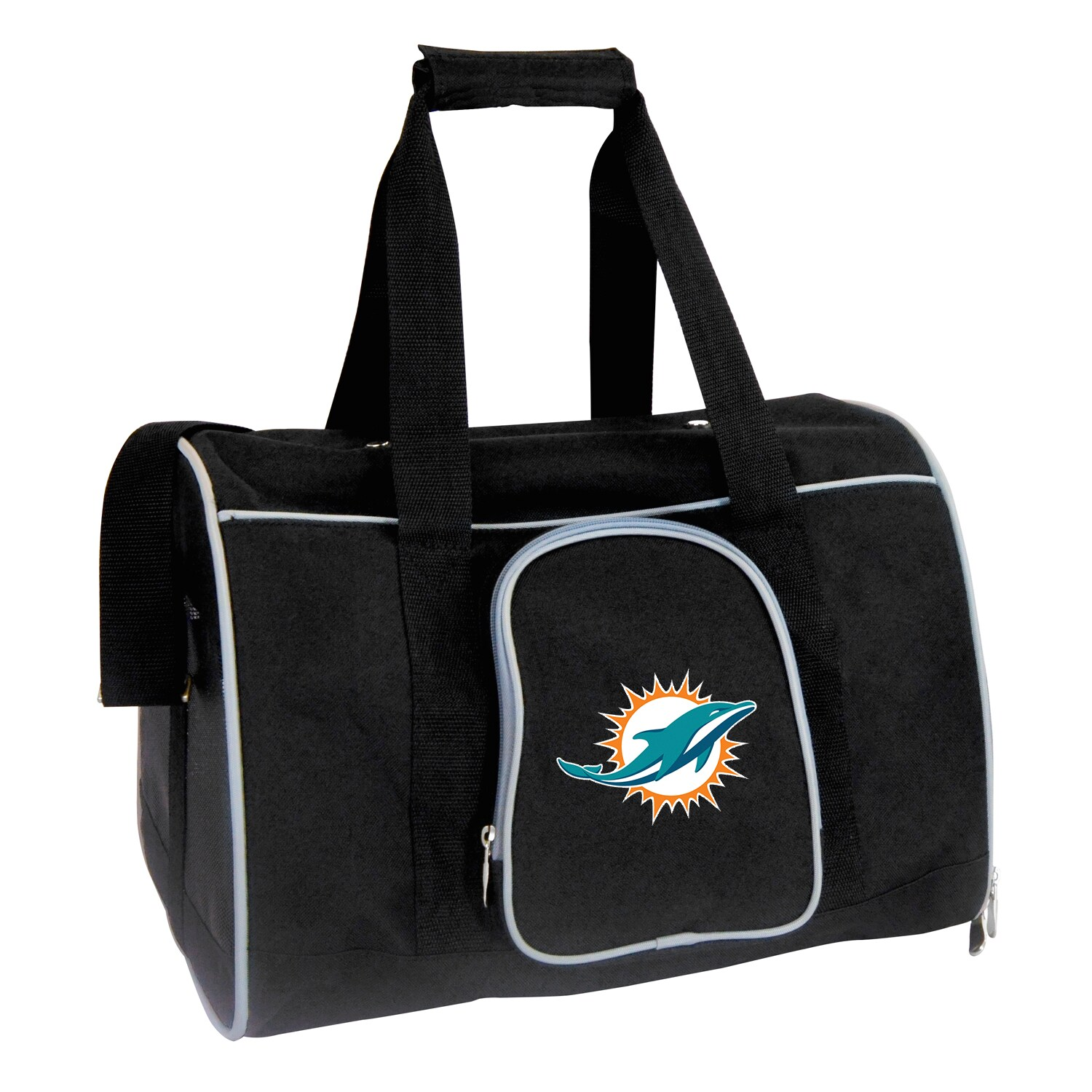"""Miami Dolphins Small 16"""" Pet Carrier - Black"""