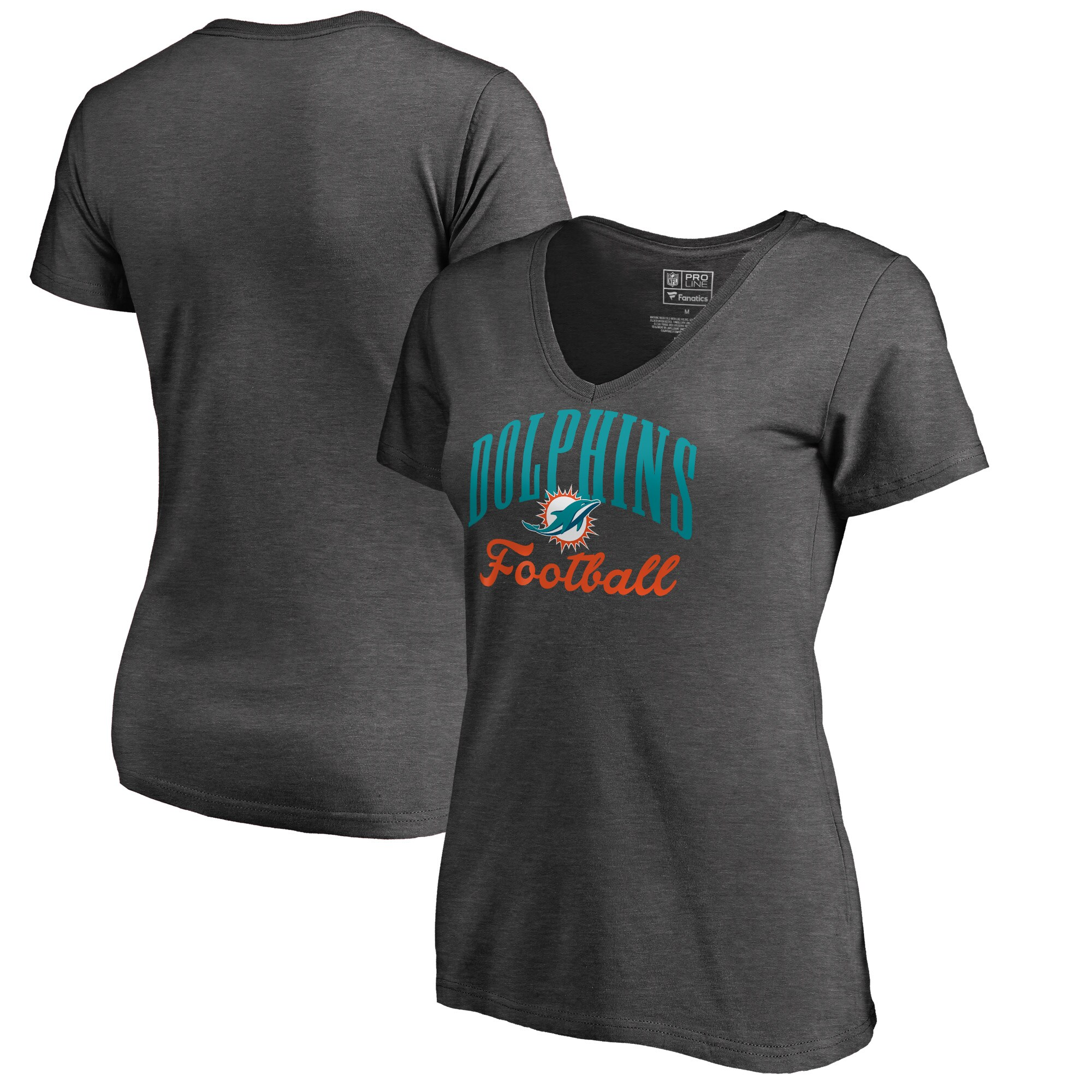 Miami Dolphins NFL Pro Line by Fanatics Branded Women's Victory Script V-Neck T-Shirt - Heathered Gray