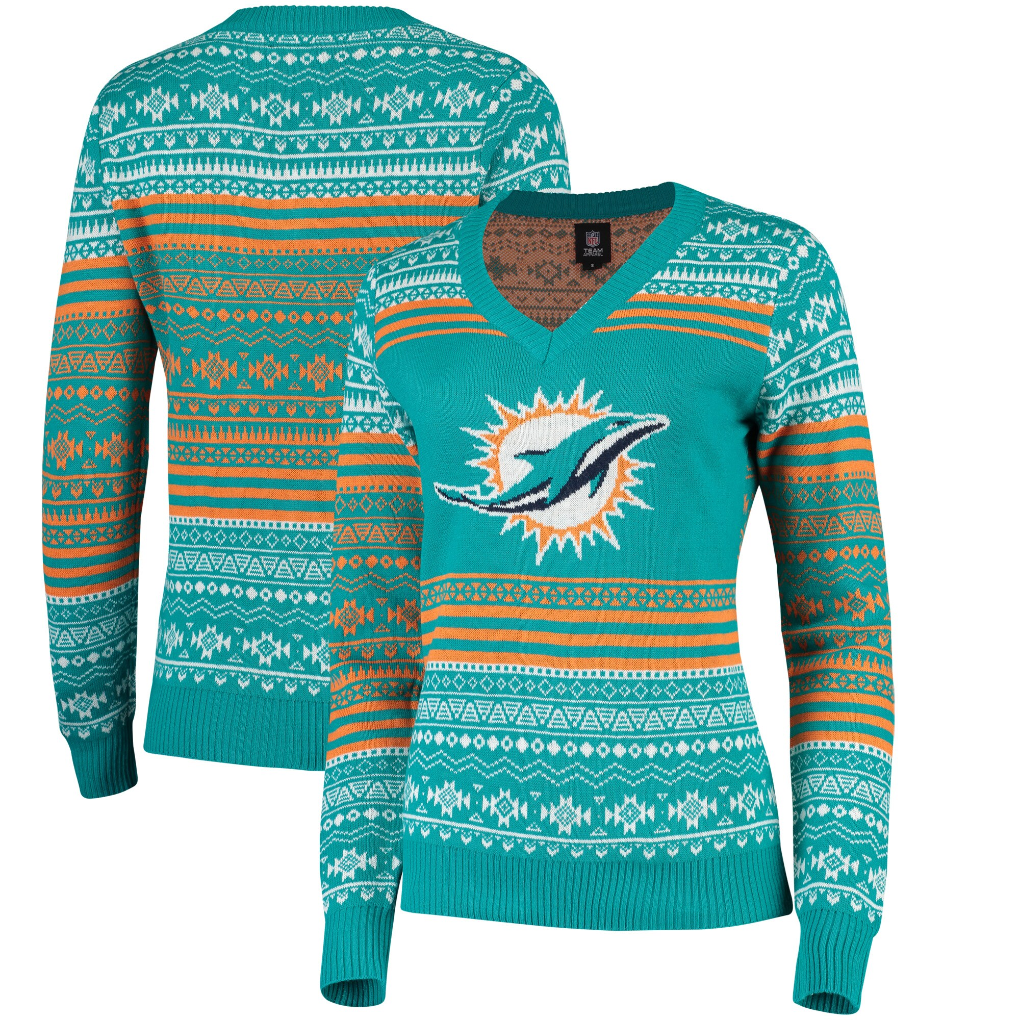 Miami Dolphins Women's Big Logo Aztec V-Neck Sweater - Aqua
