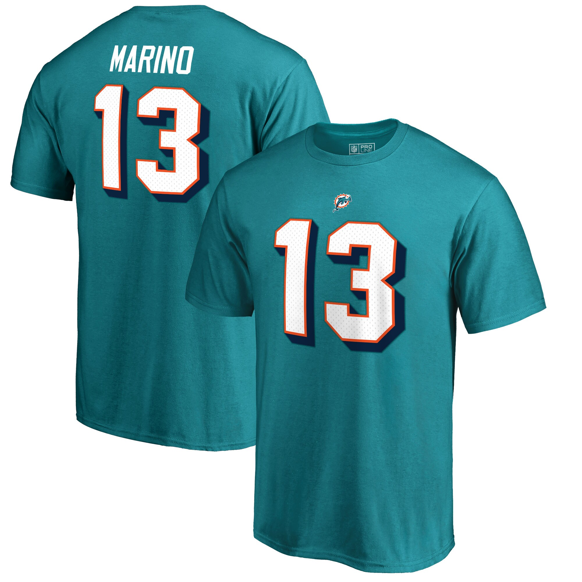 Dan Marino Miami Dolphins NFL Pro Line by Fanatics Branded Retired Player Authentic Stack Name & Number T-Shirt - Aqua