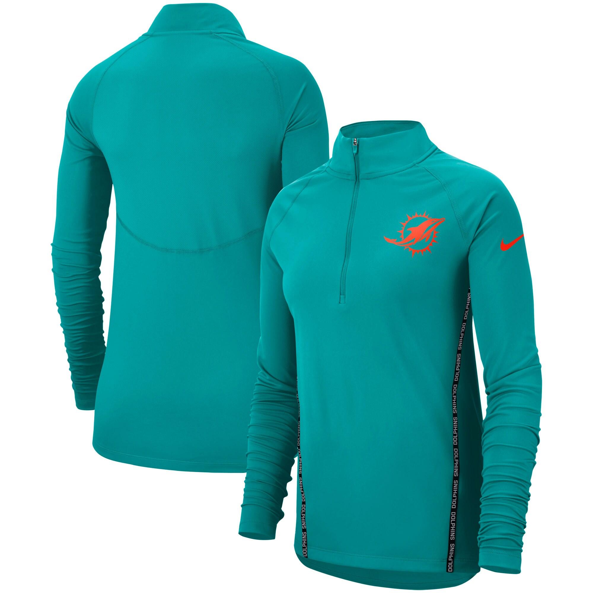 Miami Dolphins Nike Women's Core Half-Zip Pullover Jacket - Aqua