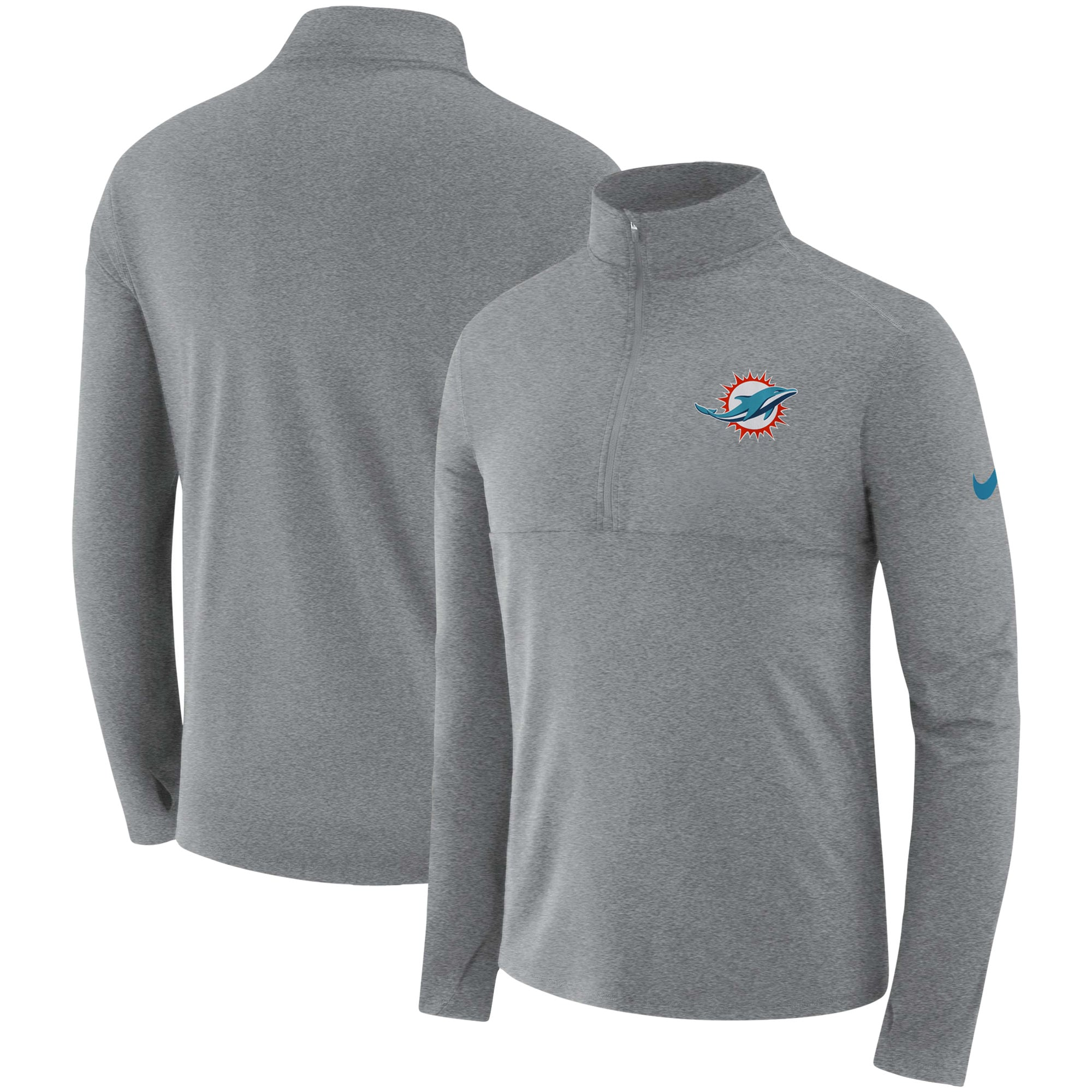 Miami Dolphins Nike Fan Gear Element Half-Zip Performance Jacket - Heathered Gray