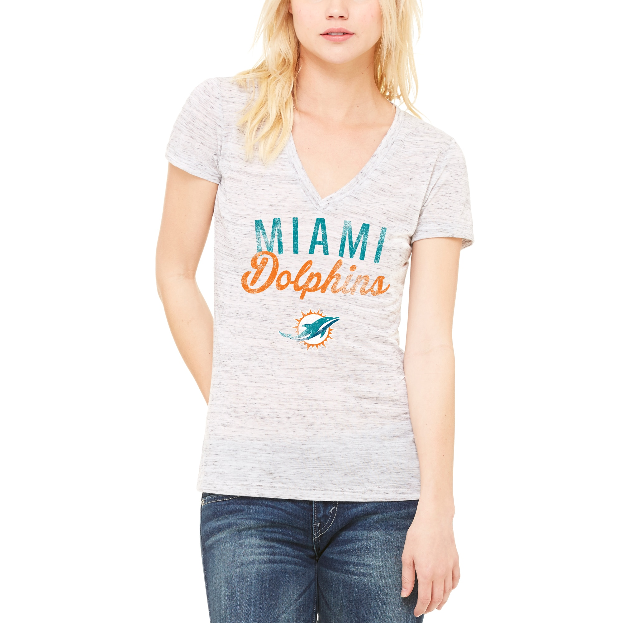 Miami Dolphins Let Loose by RNL Women's Endless V-Neck T-Shirt - White
