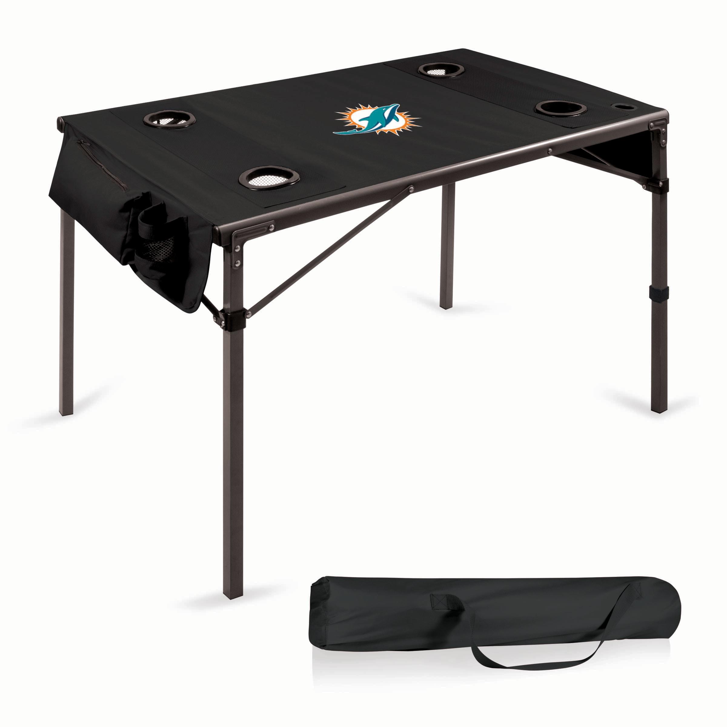Miami Dolphins Portable Folding Travel Table - Black