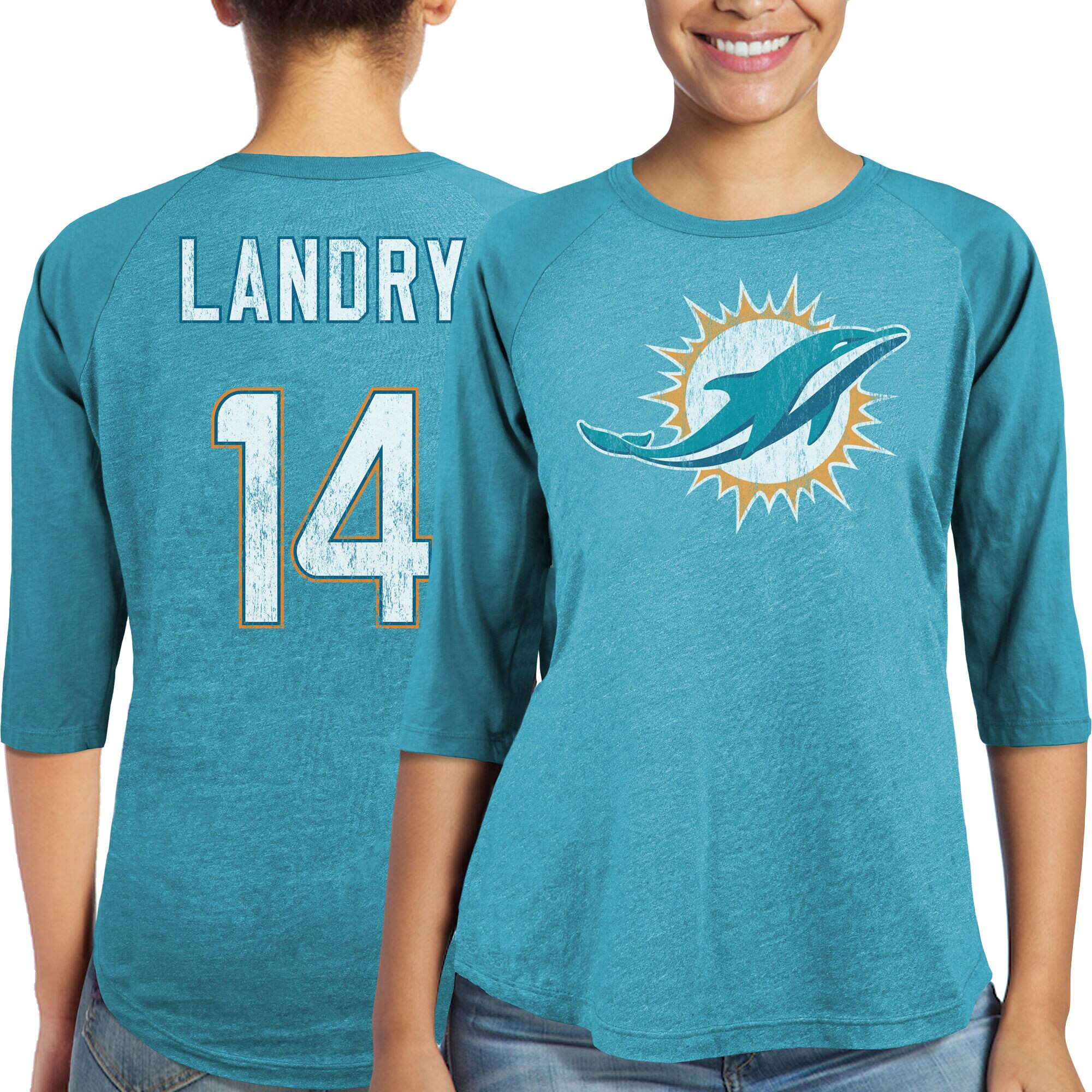 Jarvis Landry Miami Dolphins Majestic Women's Player Name & Number Tri-Blend Three-Quarter Sleeve T-Shirt - Aqua