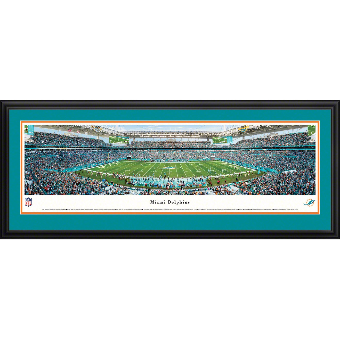 "Miami Dolphins 18"" x 44"" Deluxe Frame Panoramic Photo"