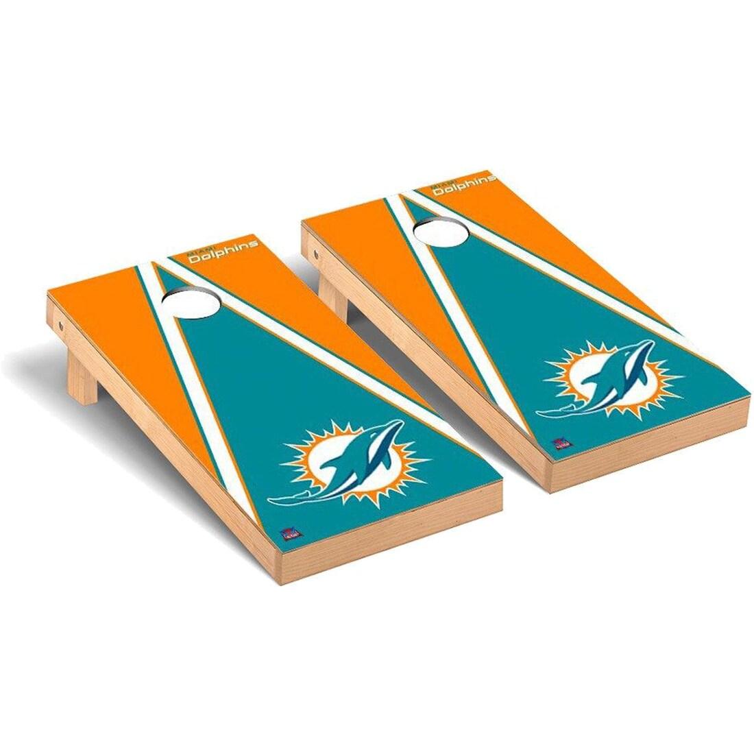 Miami Dolphins 2' x 4' Triangle Cornhole Board Tailgate Toss Set