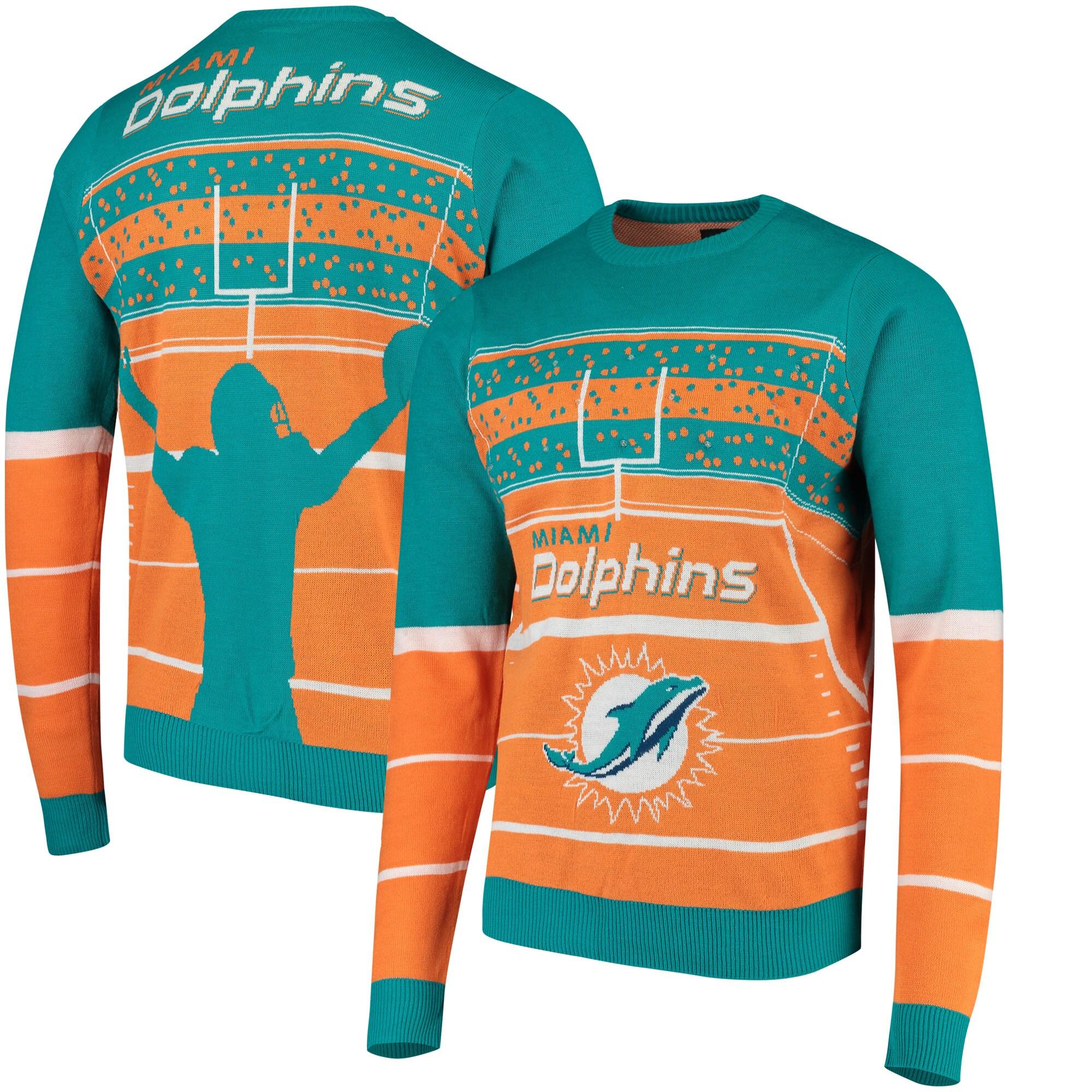 Miami Dolphins Stadium Light Up Sweater - Aqua