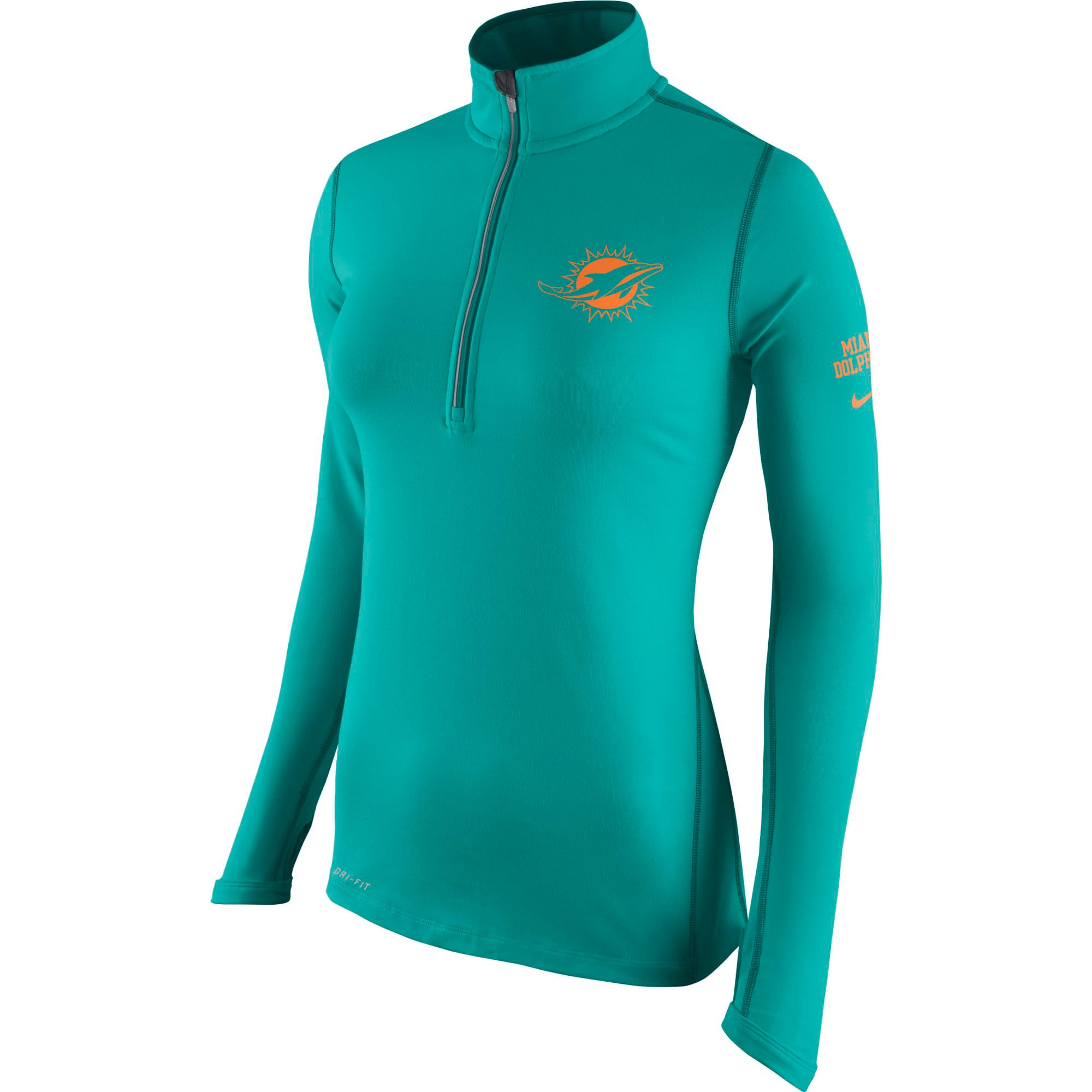Miami Dolphins Nike Women's Tailgate Element Half-Zip Performance Jacket - Aqua