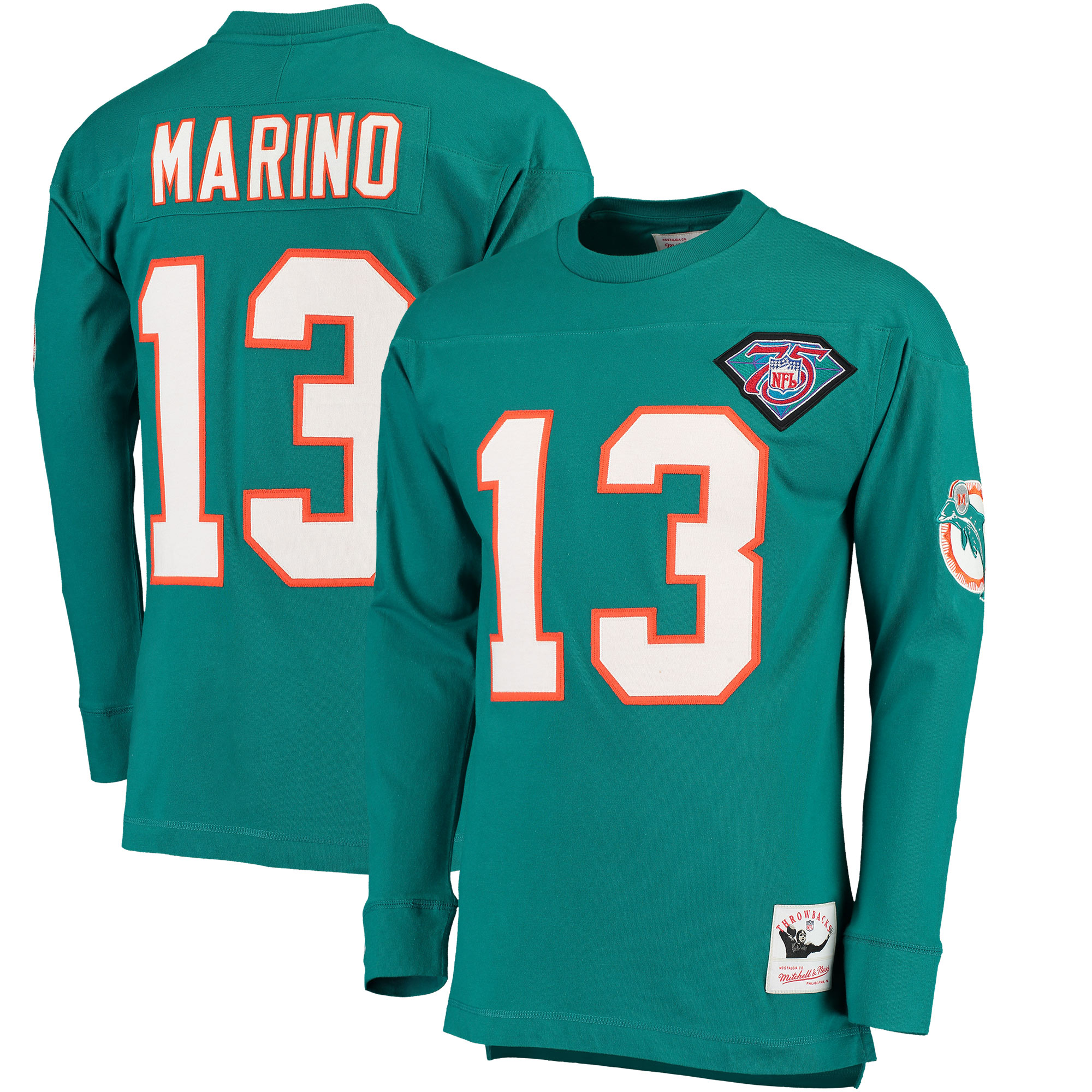 Dan Marino Miami Dolphins Mitchell & Ness Retired Player Name & Number Long Sleeve Top - Aqua