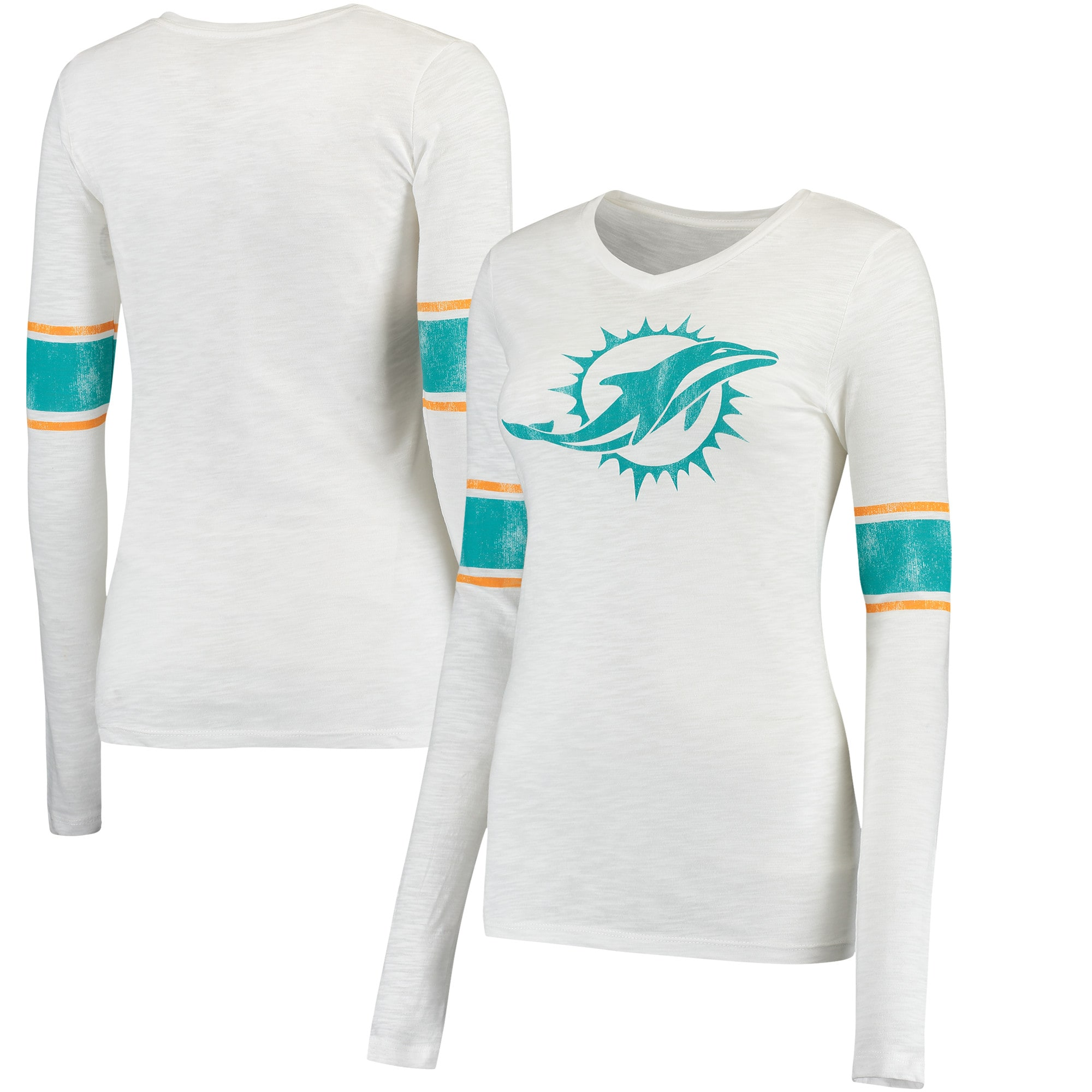 Miami Dolphins Juniors Team Leader V-Neck Long Sleeve T-Shirt - White