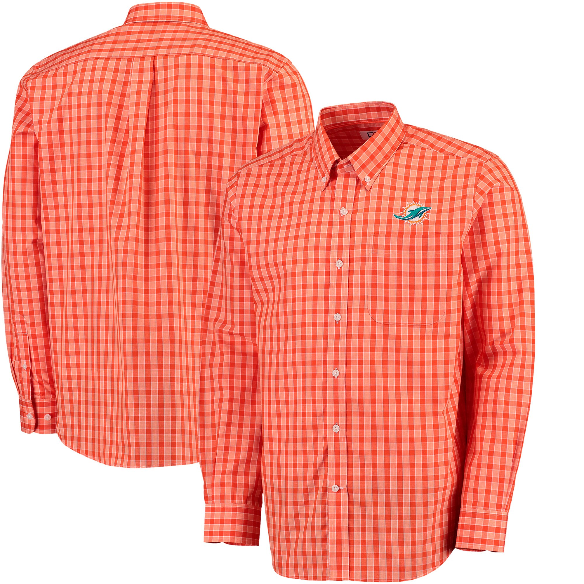 Miami Dolphins Cutter & Buck Discovery Park Plaid Long Sleeve Woven Shirt - Orange