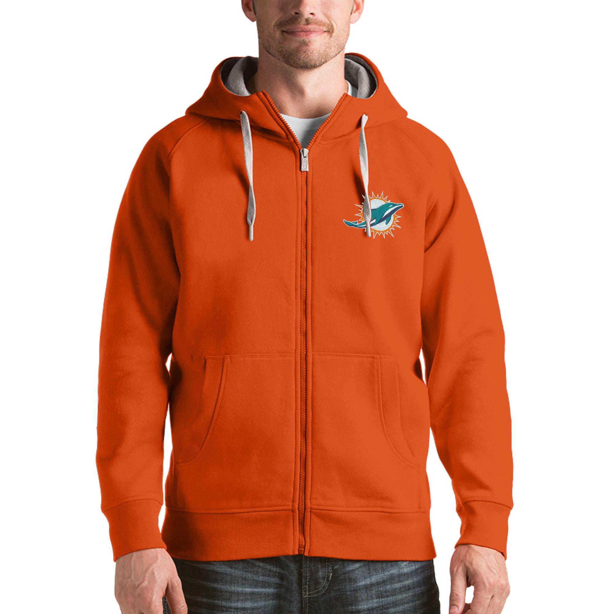 Miami Dolphins Antigua Victory Full-Zip Hoodie - Orange