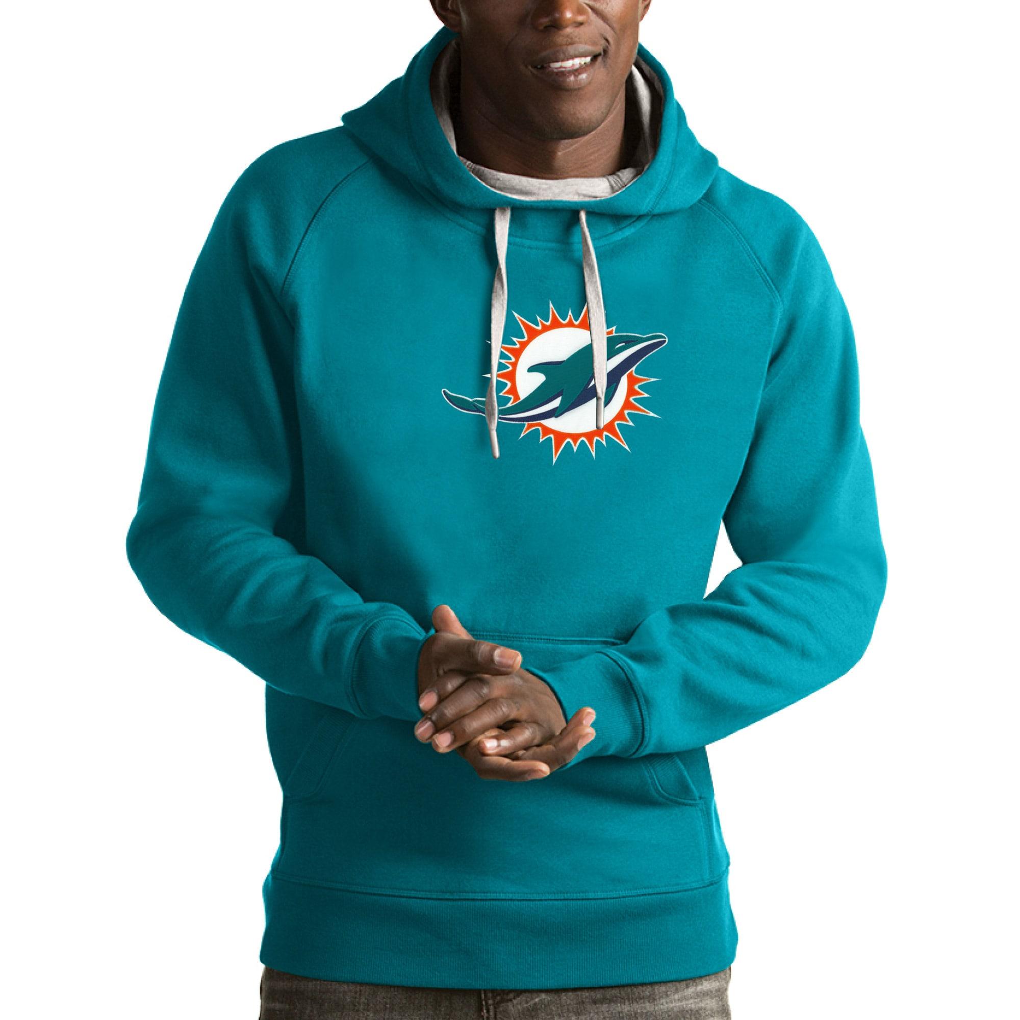 Miami Dolphins Antigua Victory Pullover Hoodie - Aqua