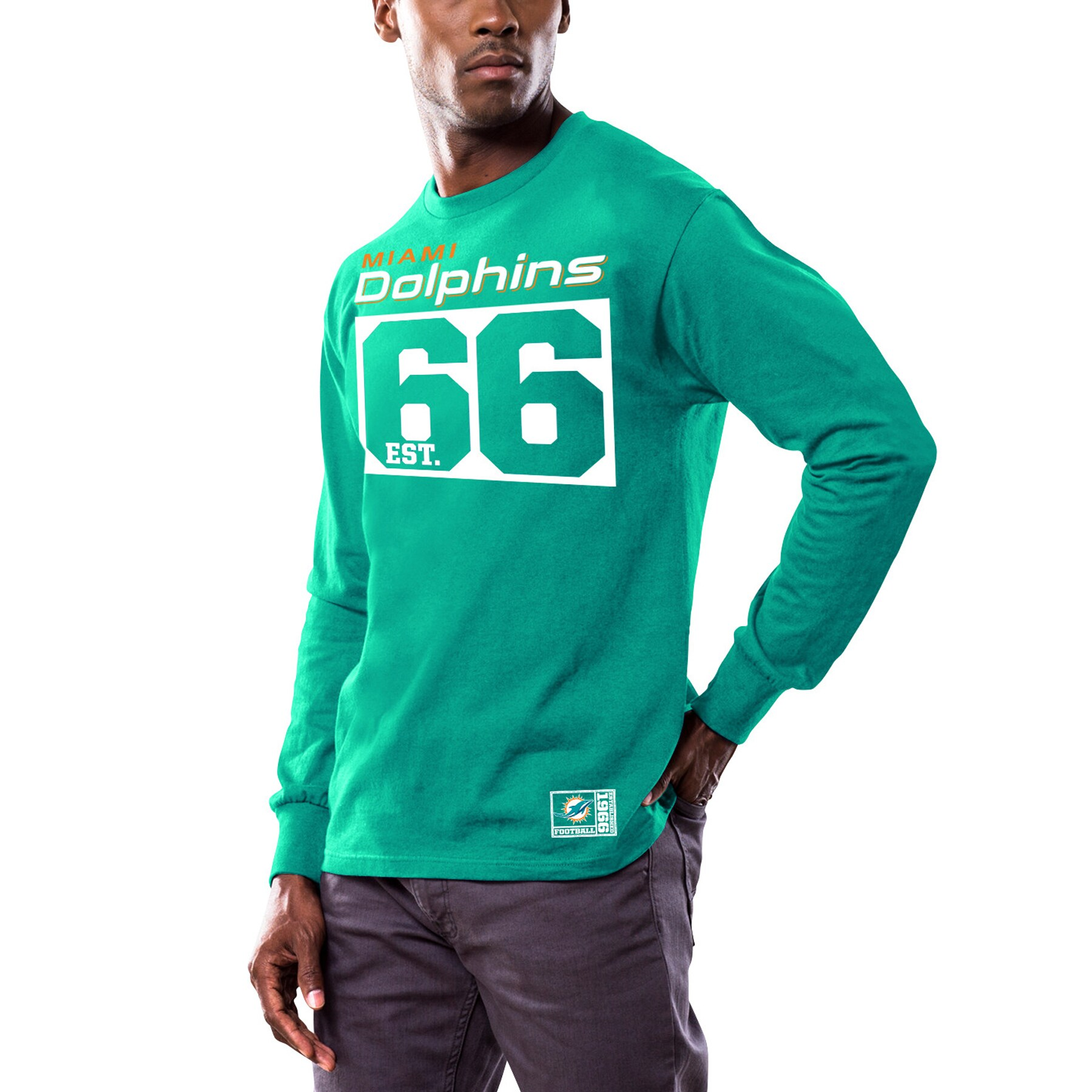 Miami Dolphins Majestic Favorable Result Long Sleeve T-Shirt - Aqua